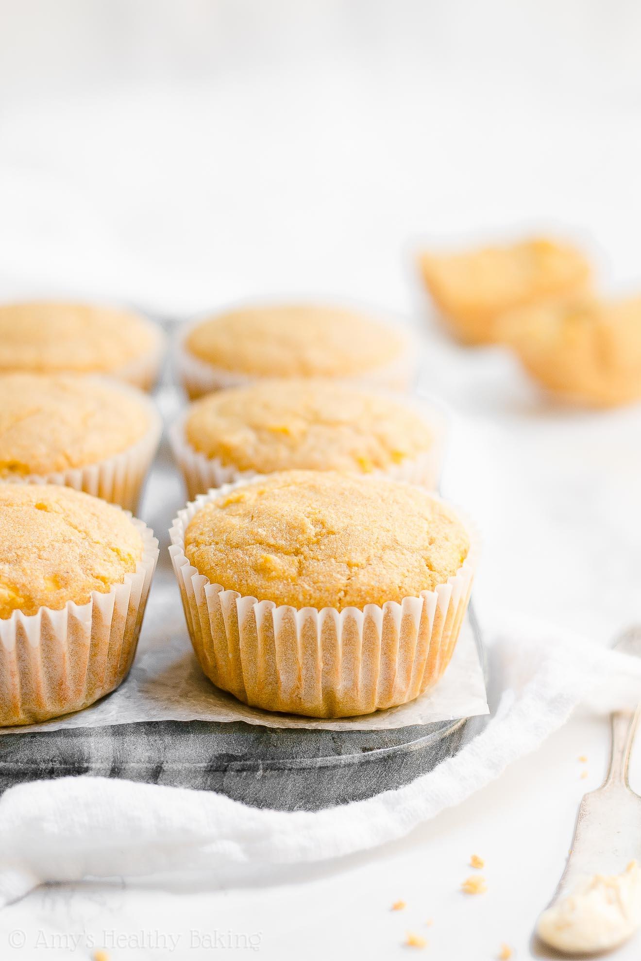 ULTIMATE Healthy Clean Eating Honey Greek Yogurt Cornbread Muffins