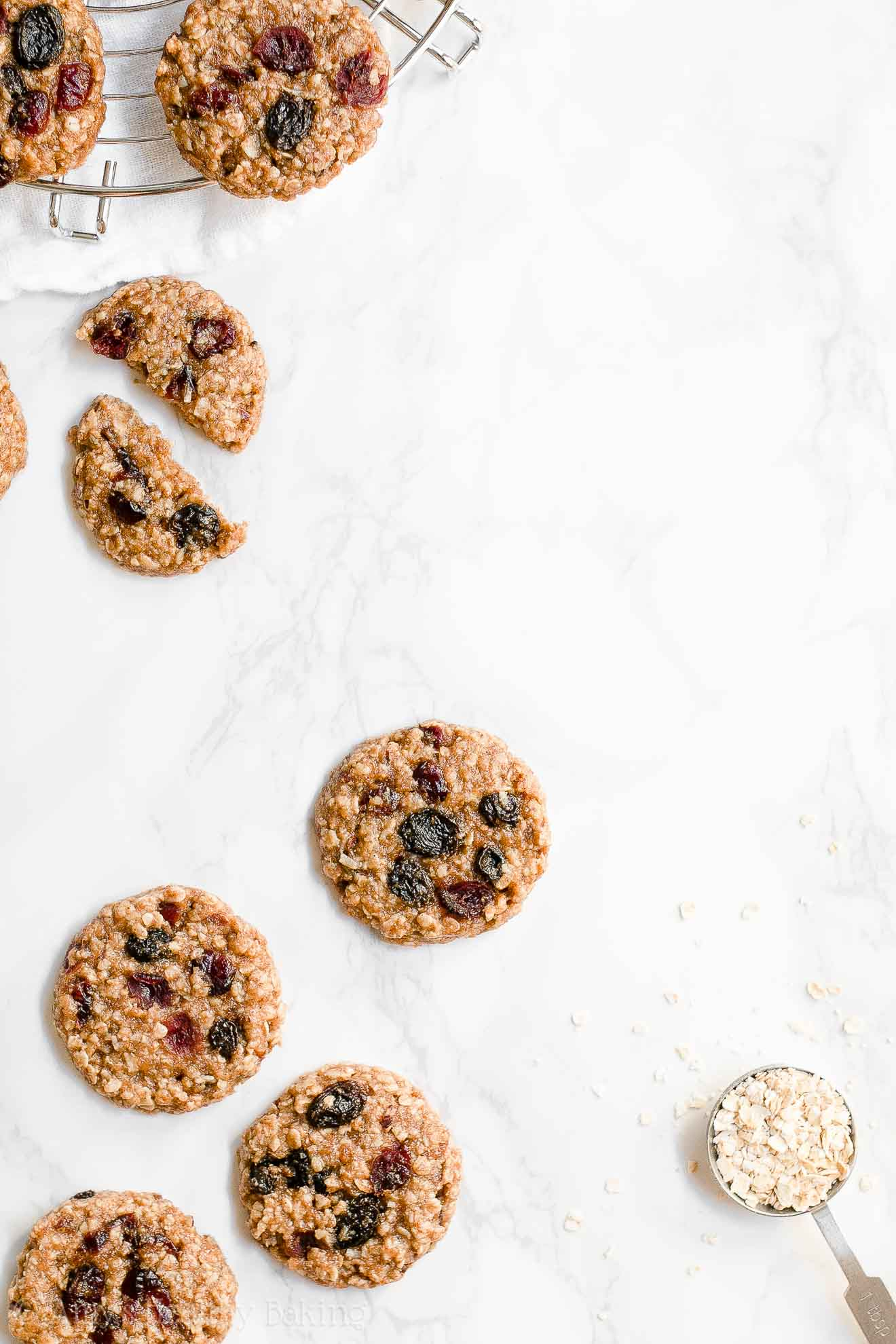 Healthy Chewy Harvest Oatmeal Cookies with honey, raisins, nuts & coconut