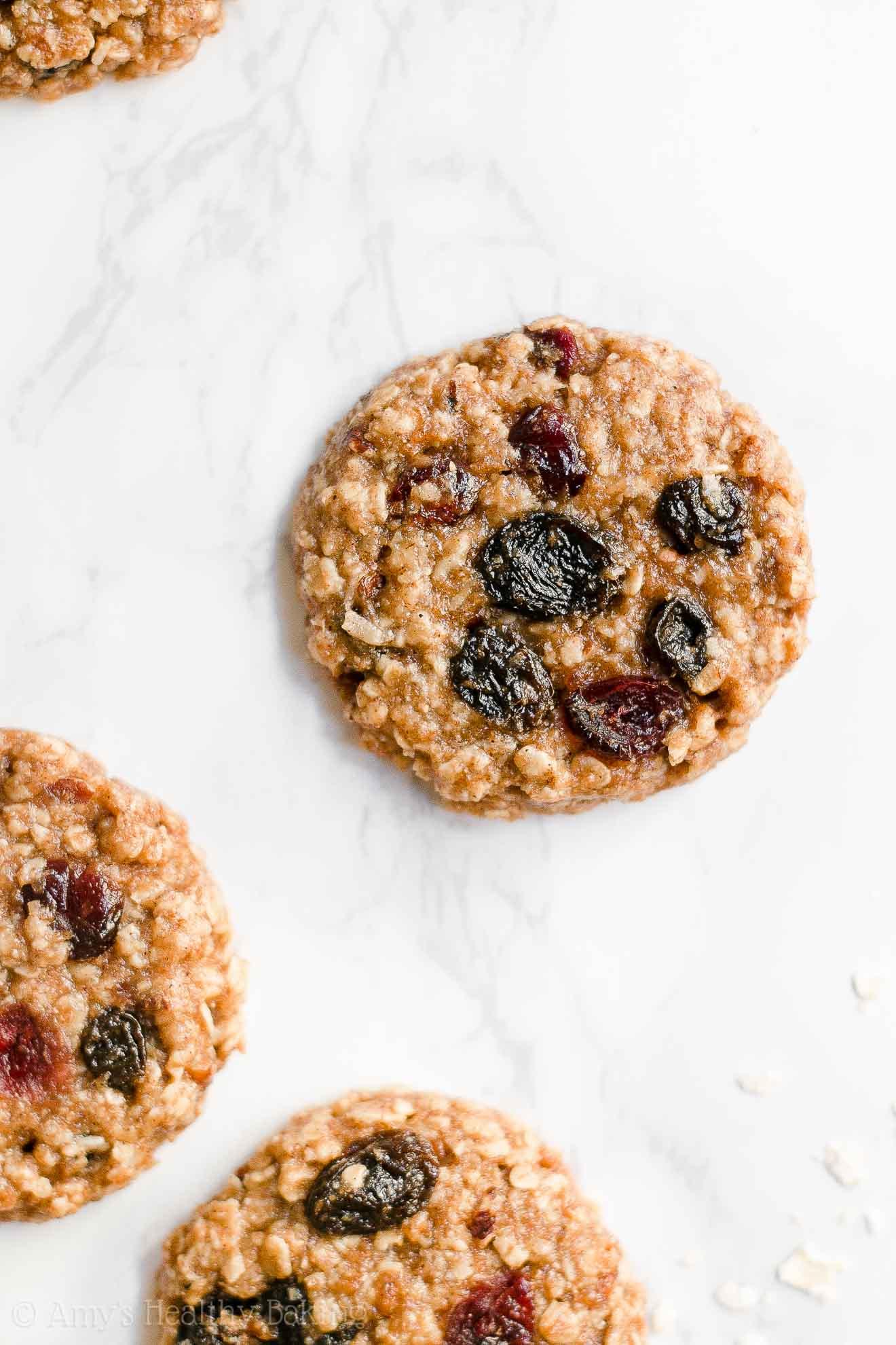 Healthy Clean Eating Chewy Harvest Cookies - oatmeal, craisin, raisin, pecan, coconut cookies
