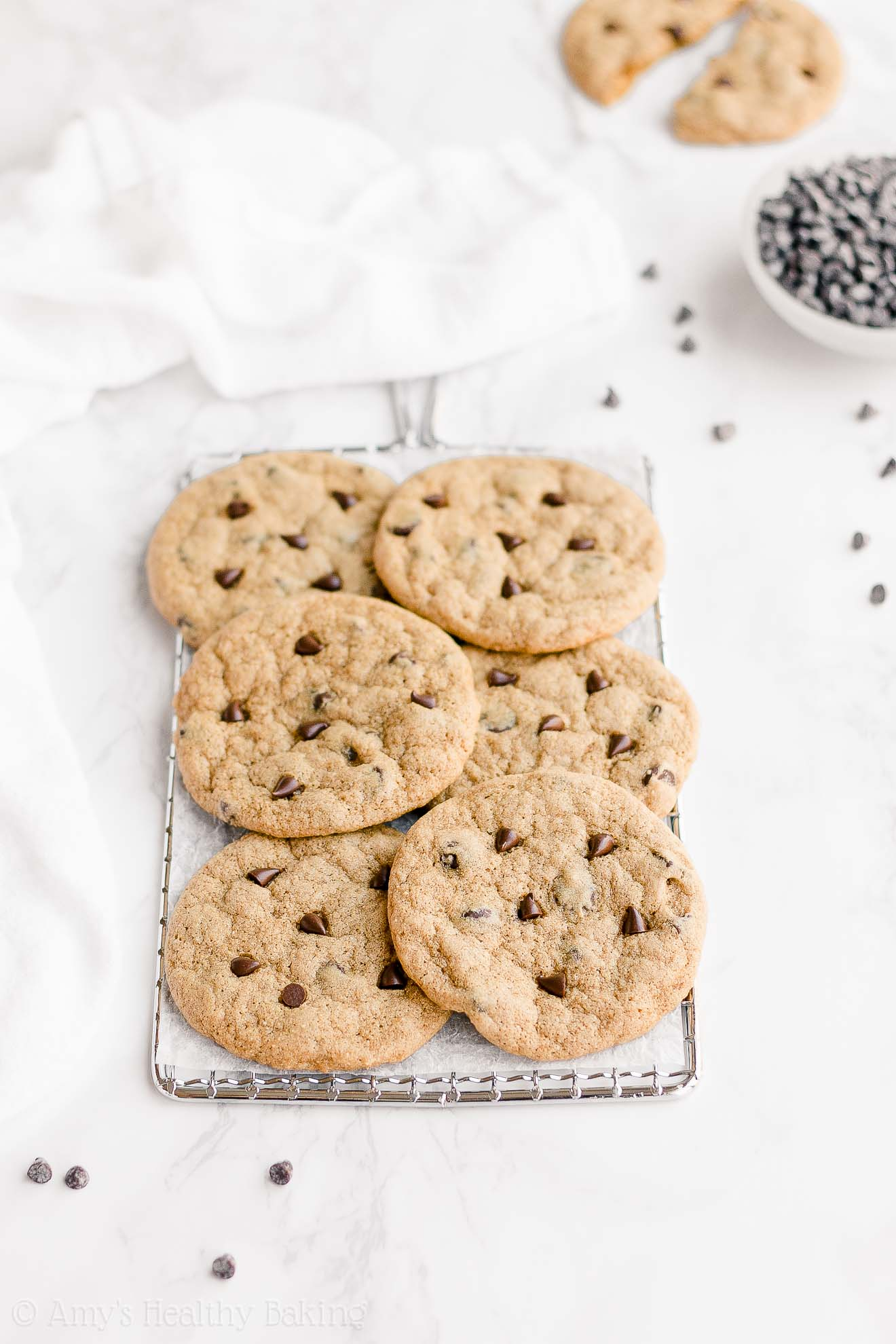 Healthy Low Calorie Vegan Chewy One-Bowl Chocolate Chip Cookies