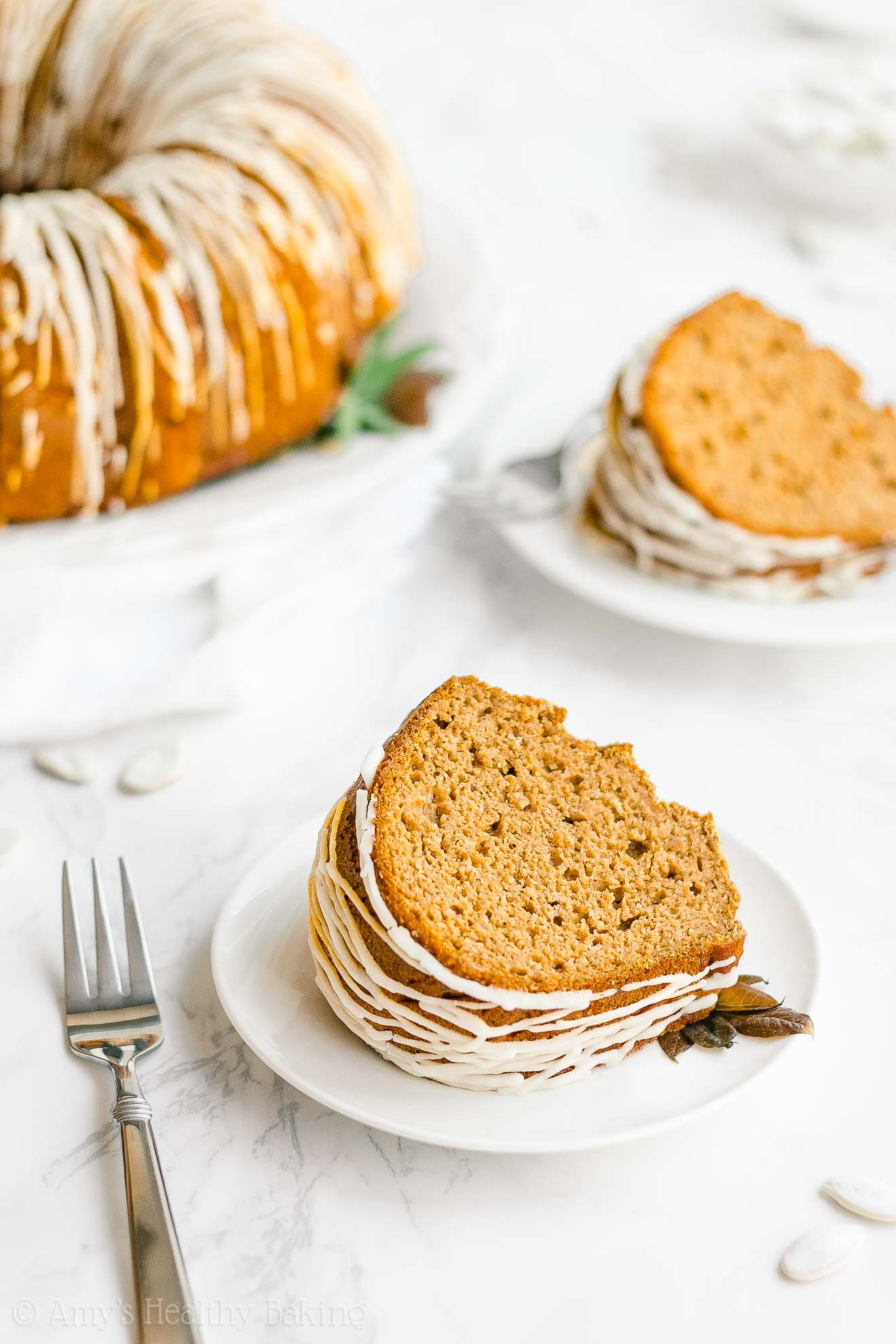 Healthy Clean Eating Low Calorie Pumpkin Bundt Cake Made with Stevia
