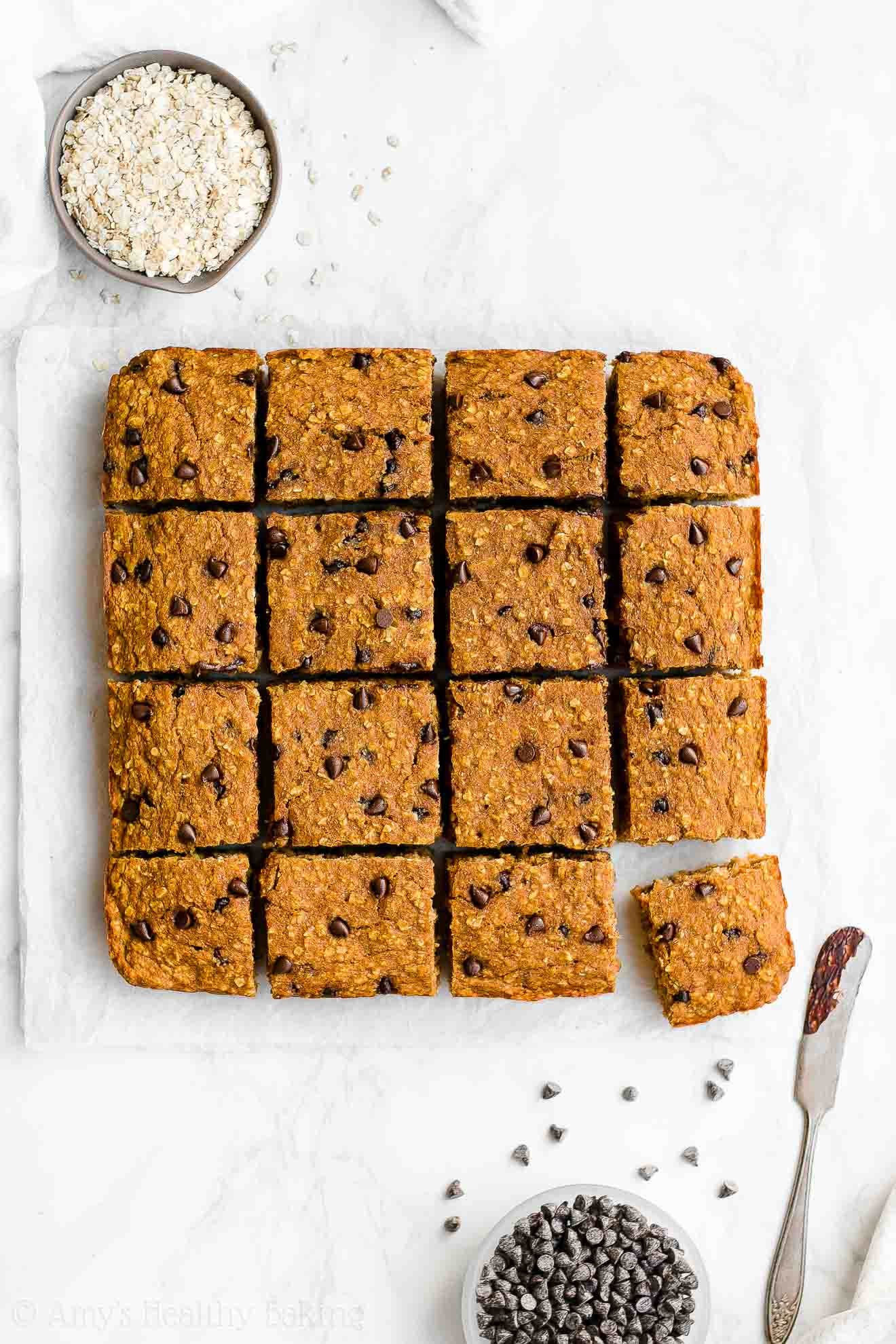 Healthy Homemade Gluten Free Pumpkin Chocolate Chip Oatmeal Snack Cake