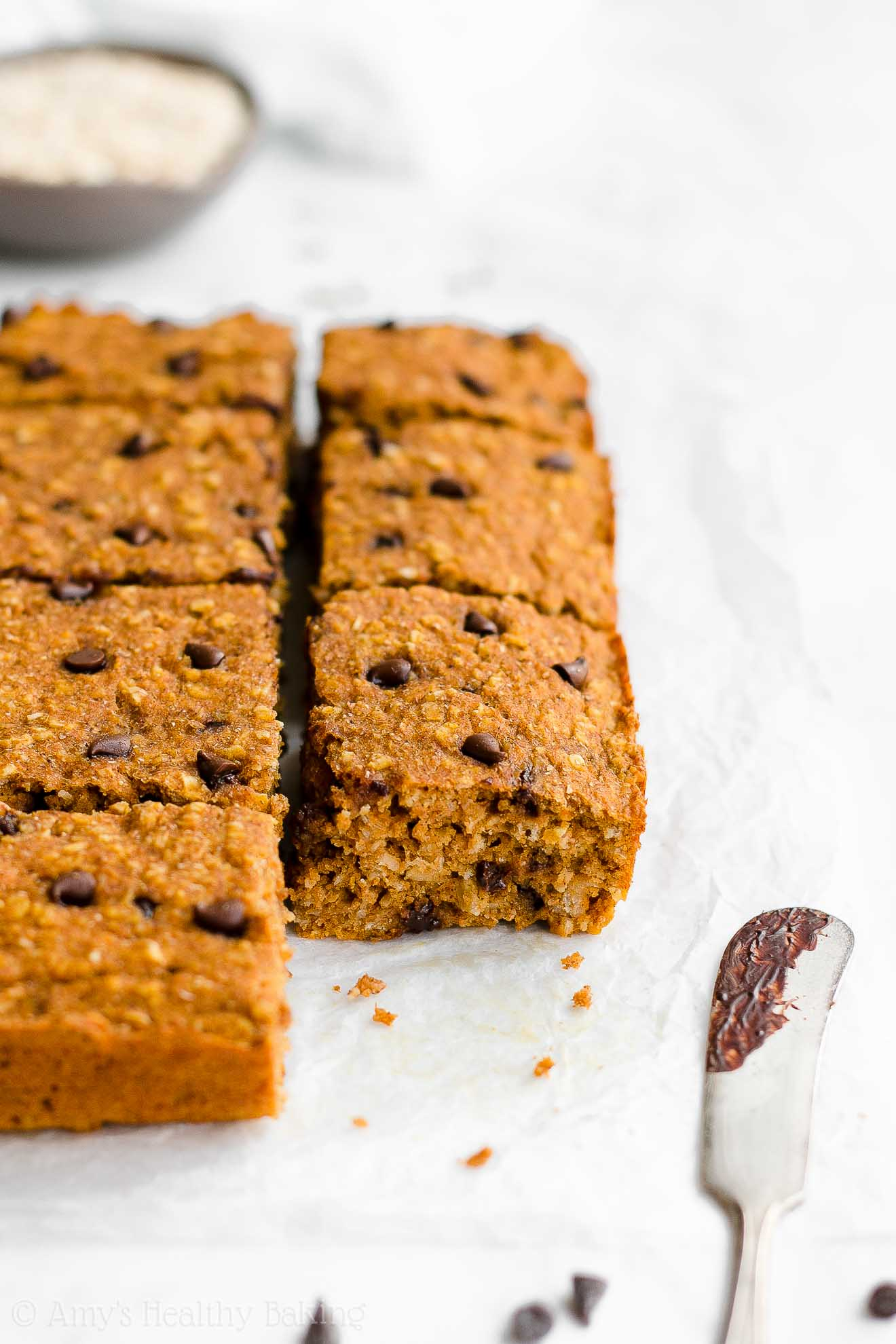 Simple Healthy Low Calorie Pumpkin Chocolate Chip Oatmeal Snack Cake for kids