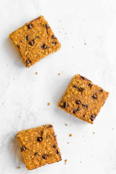 Healthy Pumpkin Chocolate Chip Oatmeal Snack Cake