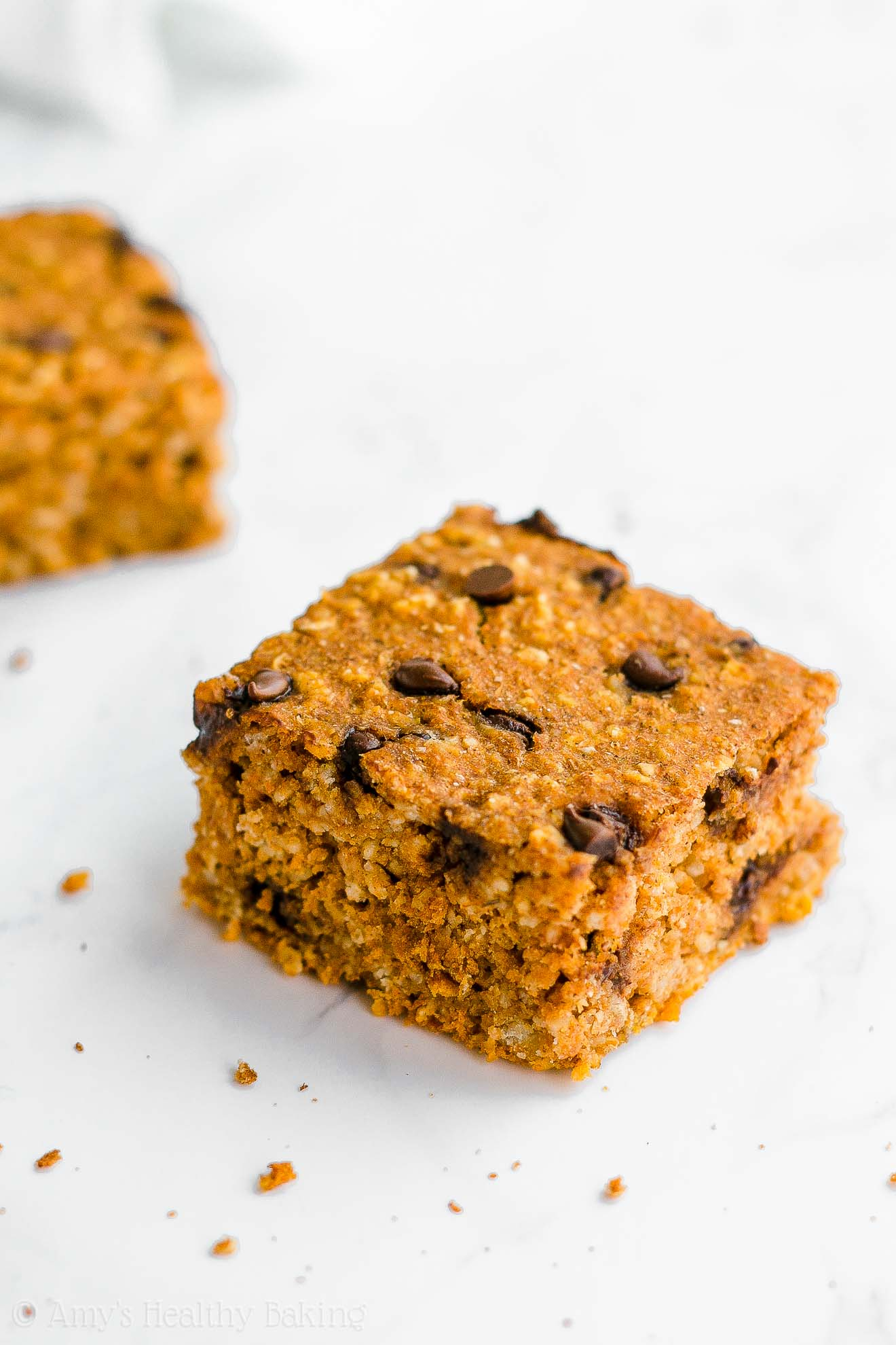 Healthy Clean Eating Low Calorie Pumpkin Chocolate Chip Oatmeal Snack Cake