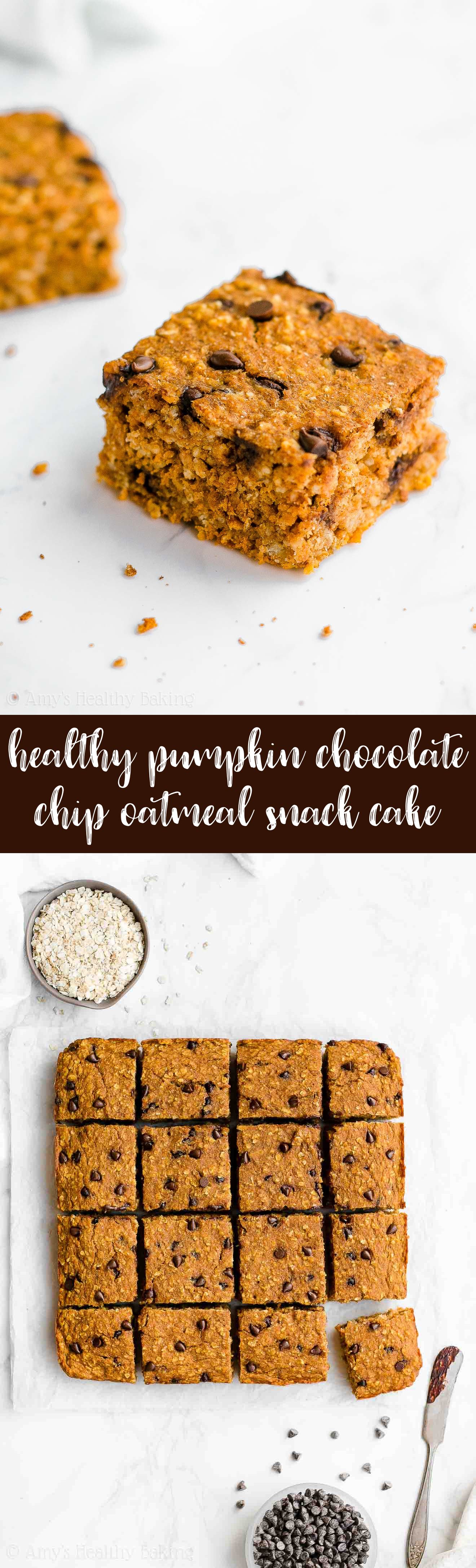 Best Ever Easy Healthy Pumpkin Chocolate Chip Oatmeal Snack Cake