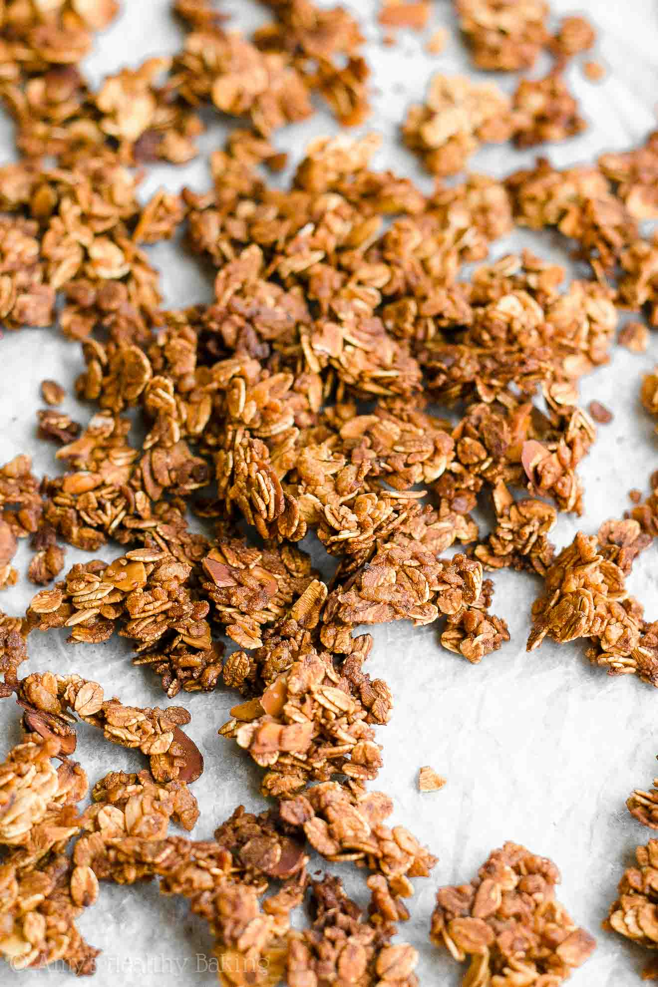 Healthy Low Fat Crunchy Vanilla Almond Granola Clusters
