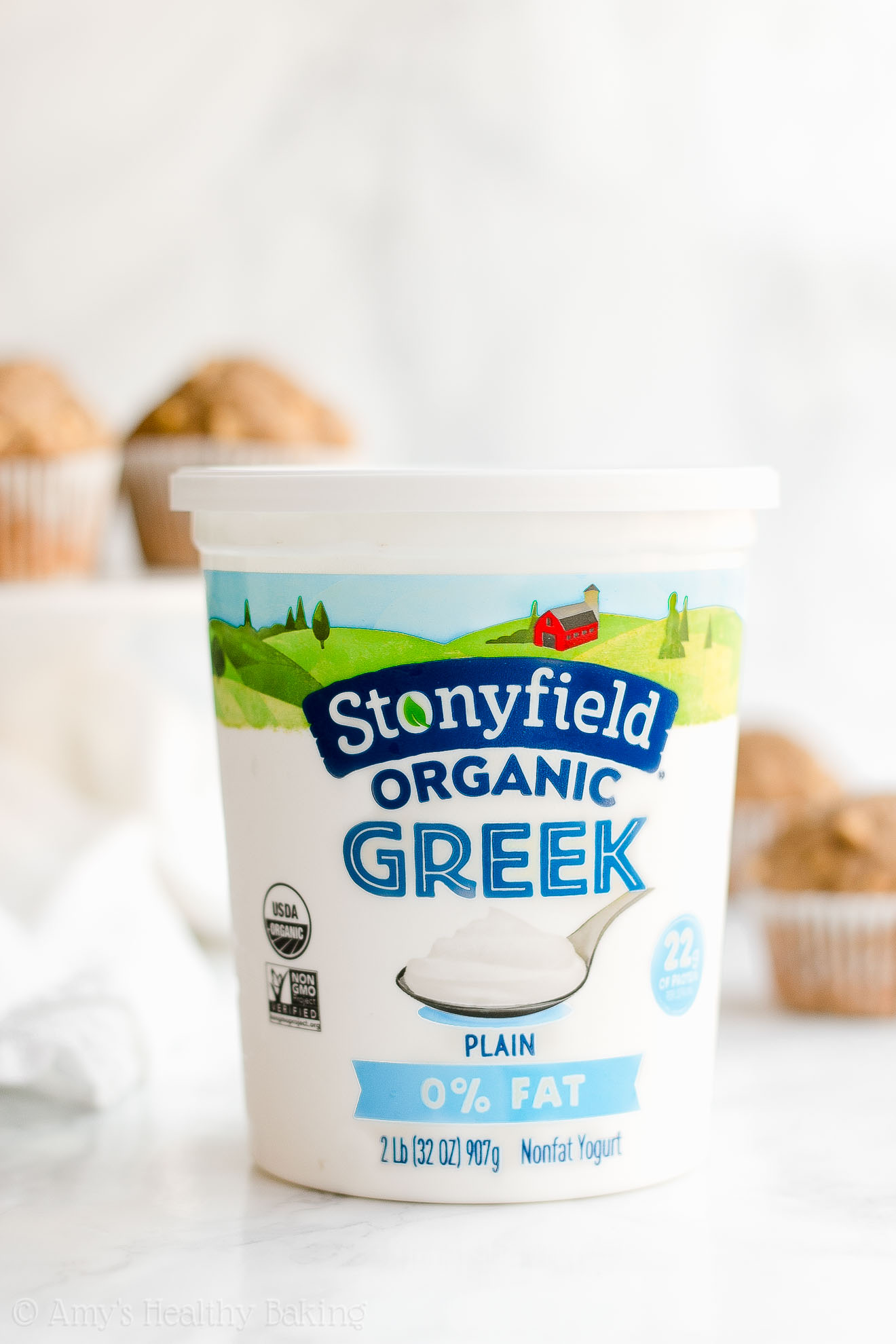 Stonyfield Organic Plain Nonfat Greek Yogurt, 32oz tub