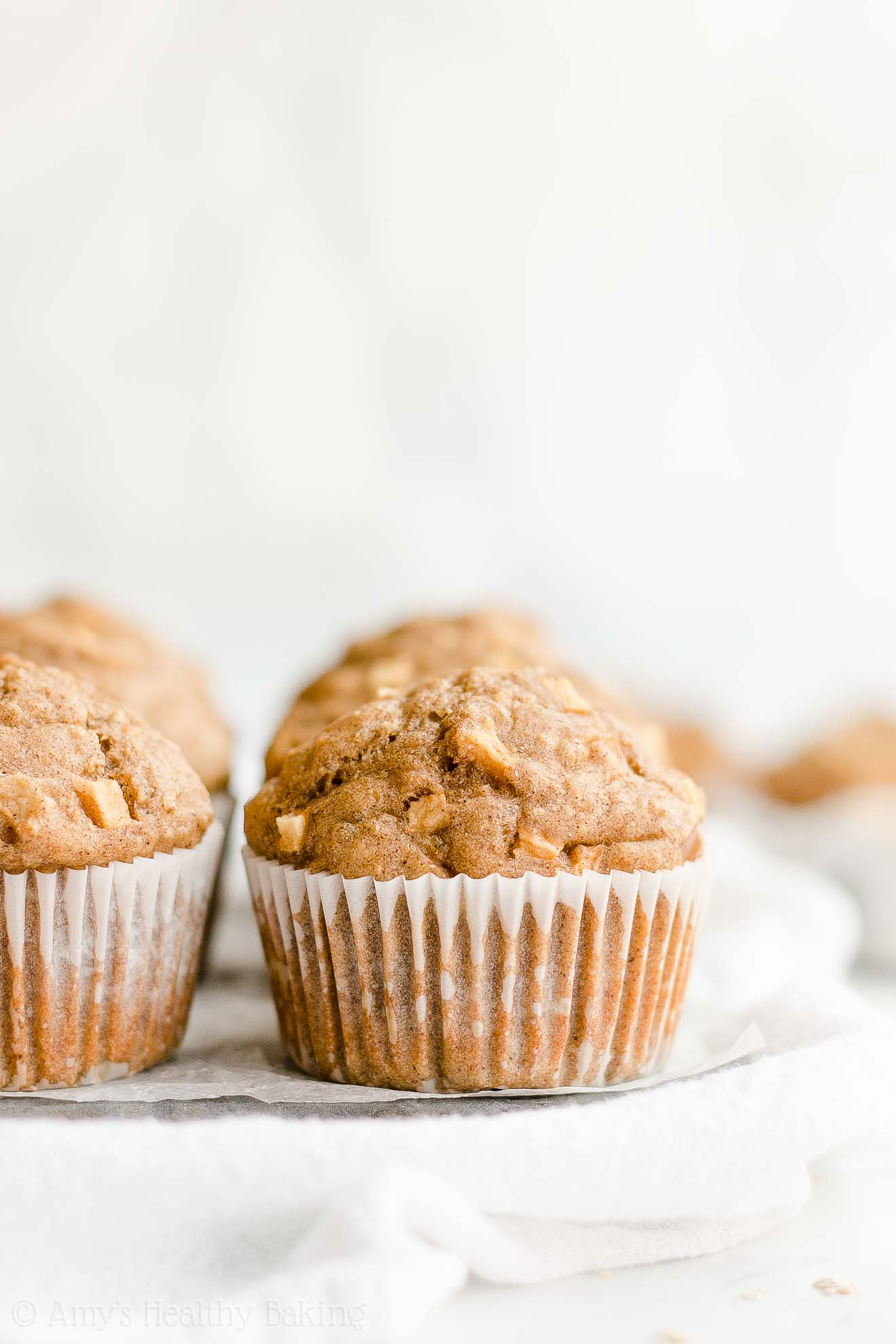 Healthy Whole Wheat Greek Yogurt Cinnamon Apple Oatmeal Muffins