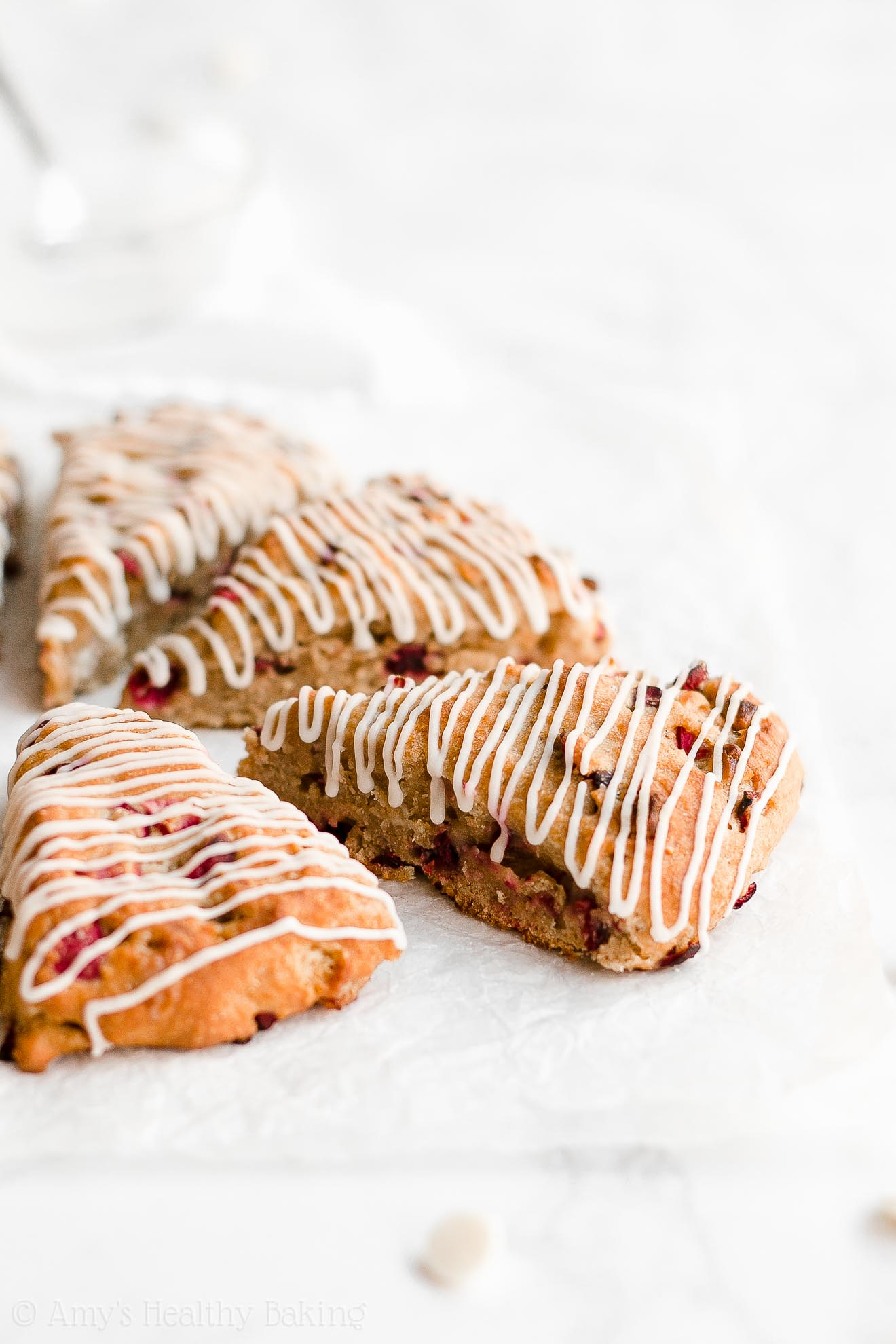 Healthy Low Calorie Greek Yogurt Cranberry White Chocolate Scones