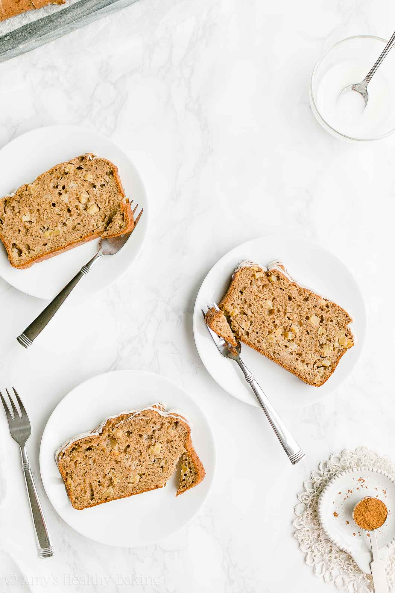 Easy Healthy Moist Low Sugar Whole Wheat Cinnamon Apple Pound Cake