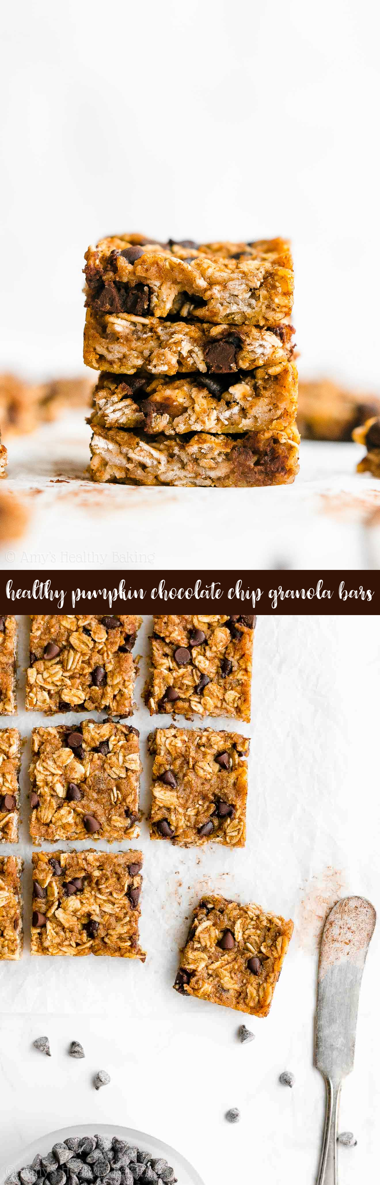 Best Healthy Clean Eating Chewy Pumpkin Chocolate Chip Granola Bar Bites Recipe