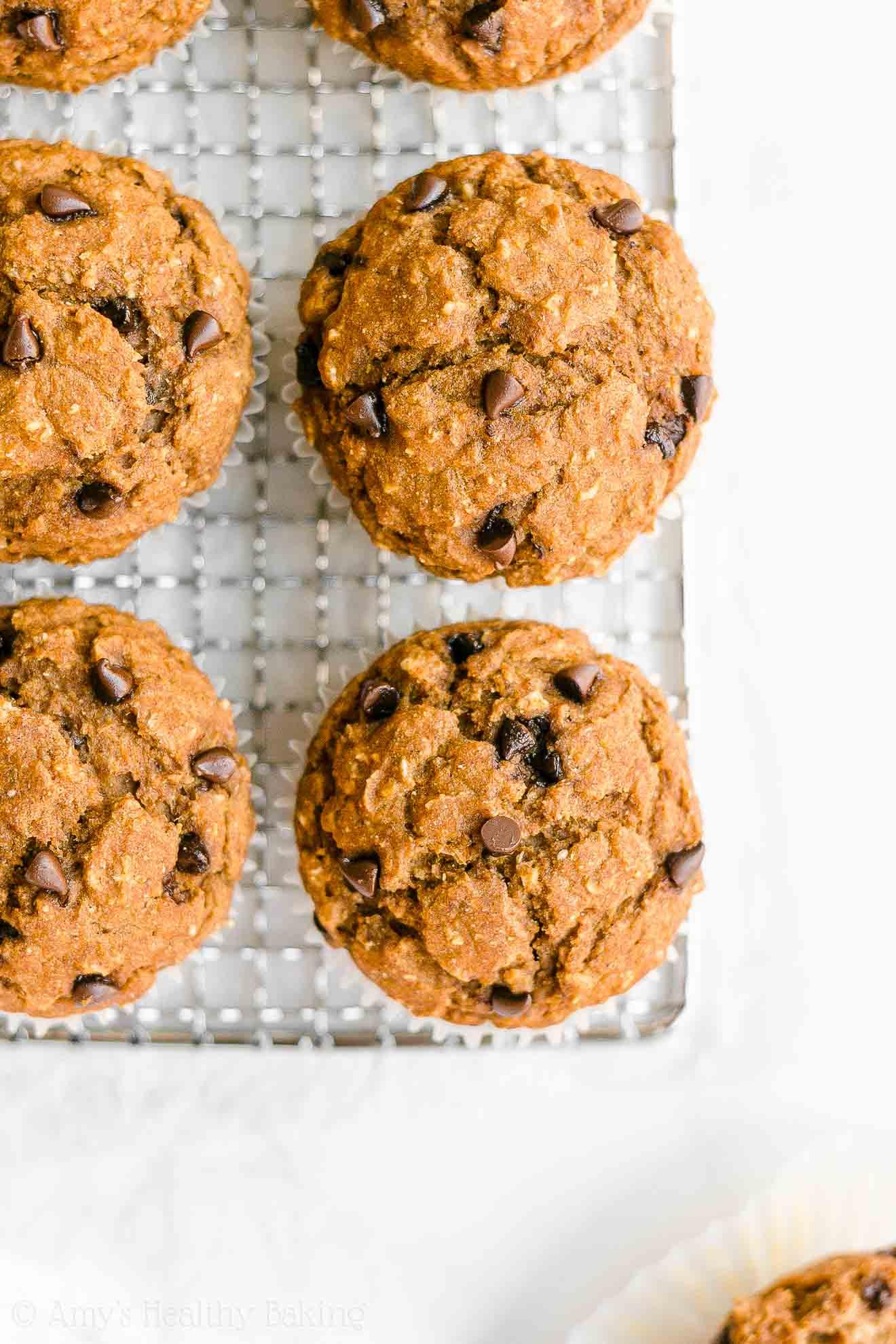 Easy Healthy Gluten Free Low Sugar Pumpkin Chocolate Chip Oatmeal Muffins