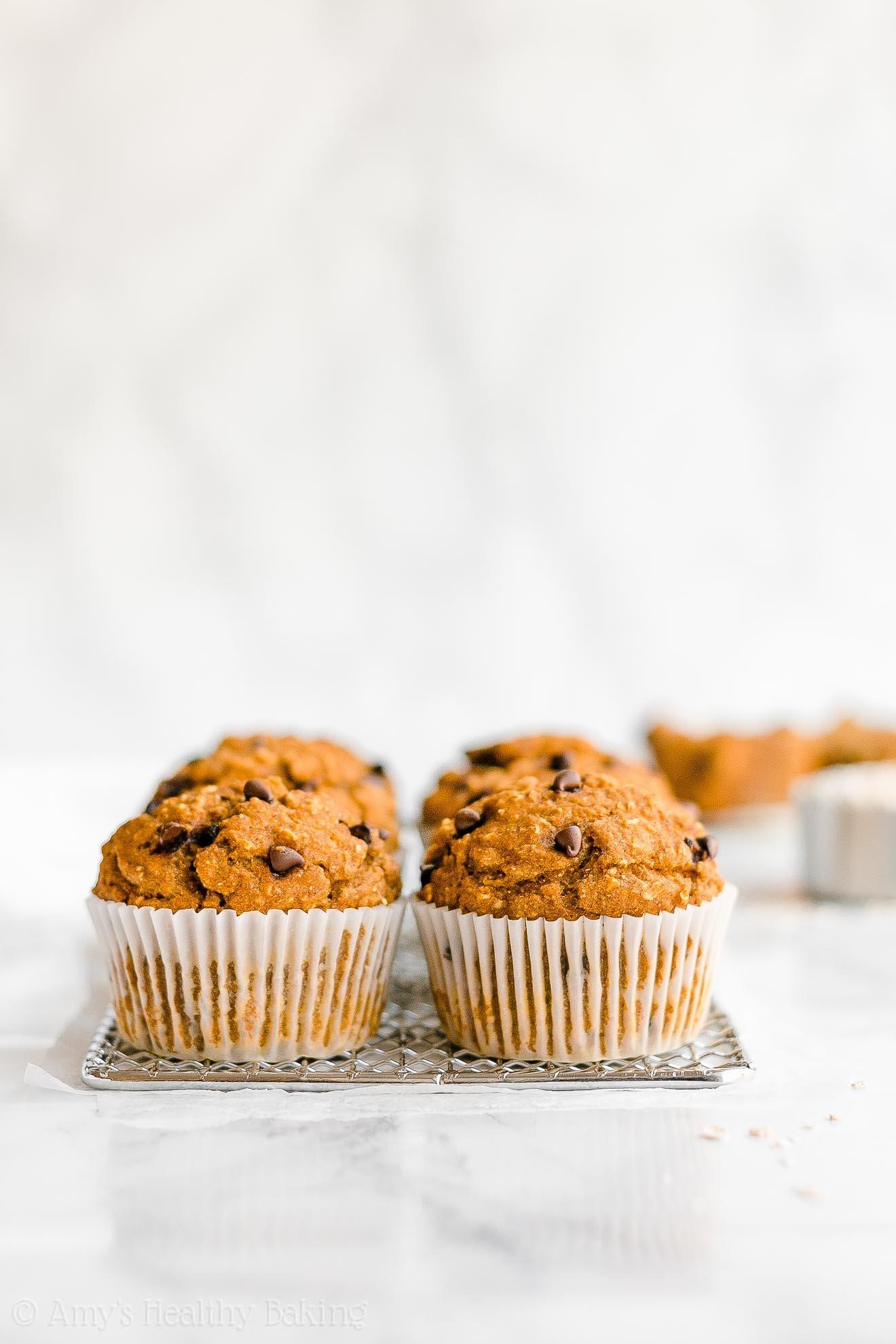 Best Healthy Low Calorie Moist Pumpkin Chocolate Chip Oatmeal Muffins