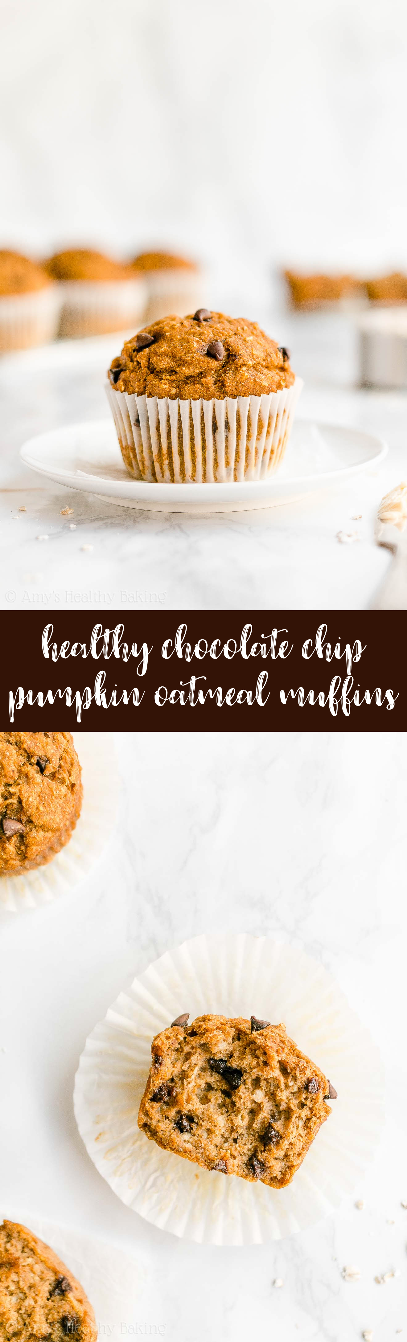 Best Ever Easy Healthy Clean Eating Pumpkin Chocolate Chip Oatmeal Muffins