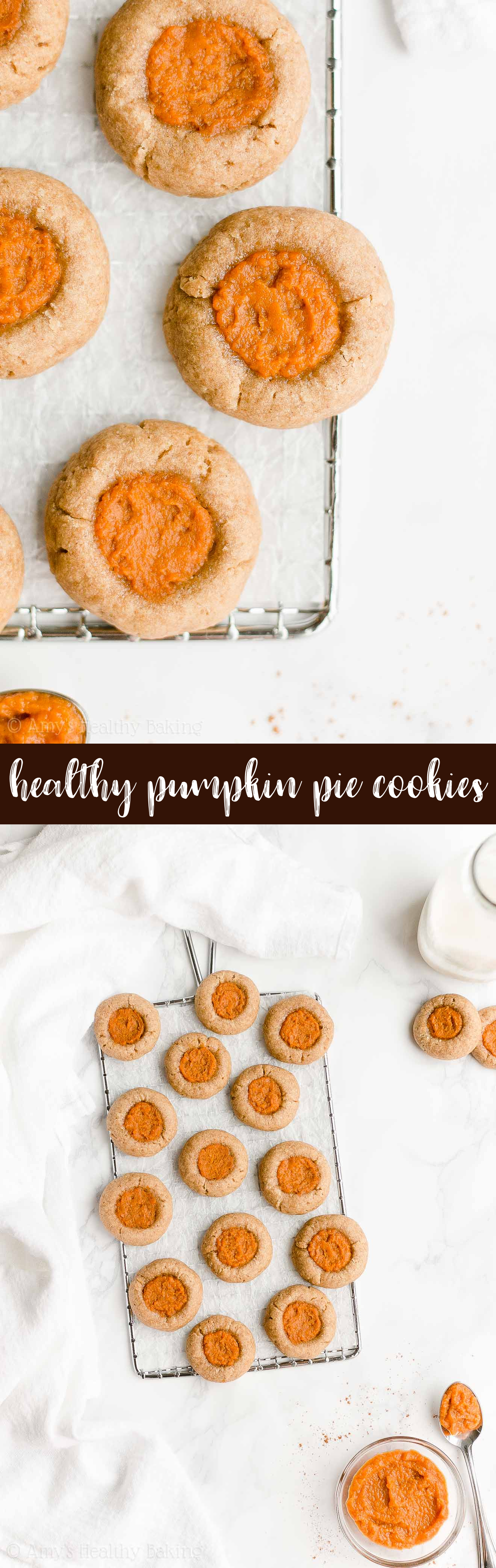 Best Ever Healthy Clean Eating Soft Chewy Pumpkin Pie Thumbprint Cookies
