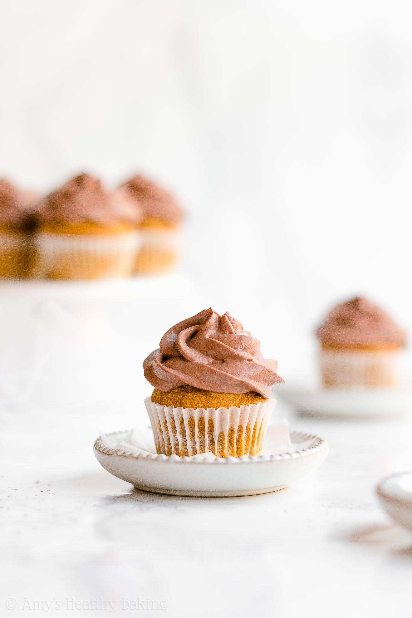 Healthy Gluten Free Sugar Free Small Batch Mini Pumpkin Cupcakes