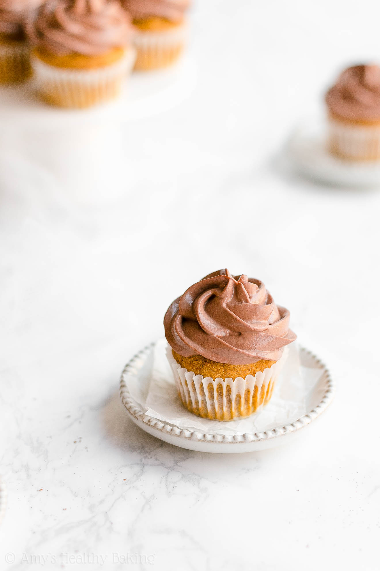 Easy Healthy Low Calorie Small Batch Moist Mini Pumpkin Cupcakes