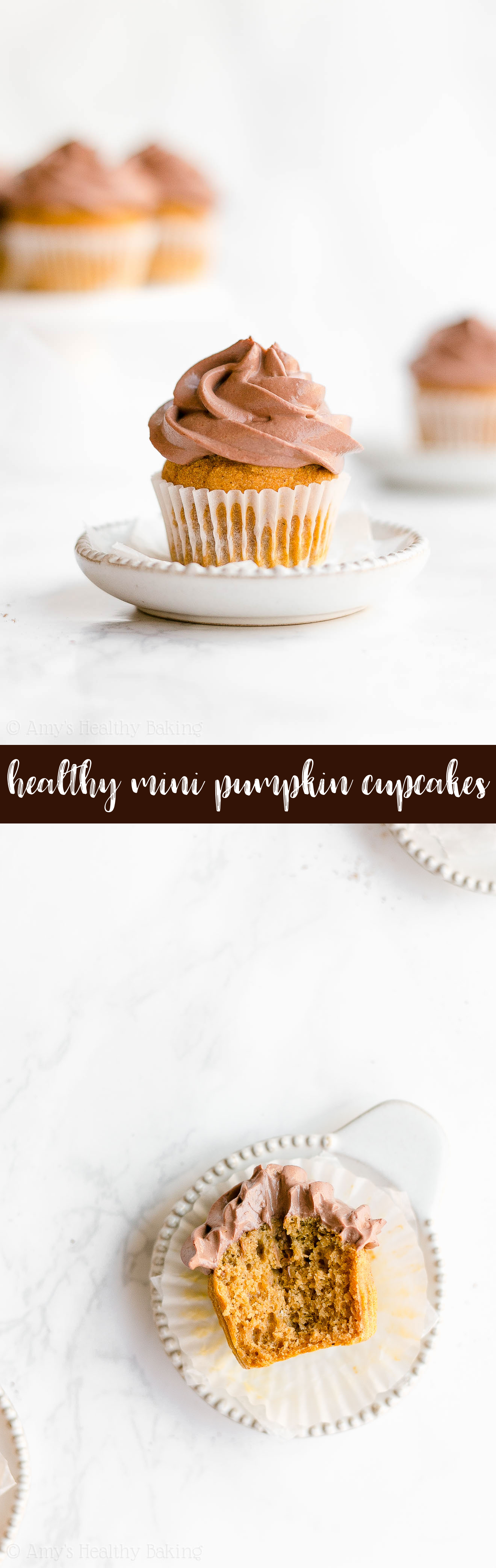 Best Ever Healthy Small Batch Mini Pumpkin Cupcakes with Chocolate Greek Yogurt Frosting
