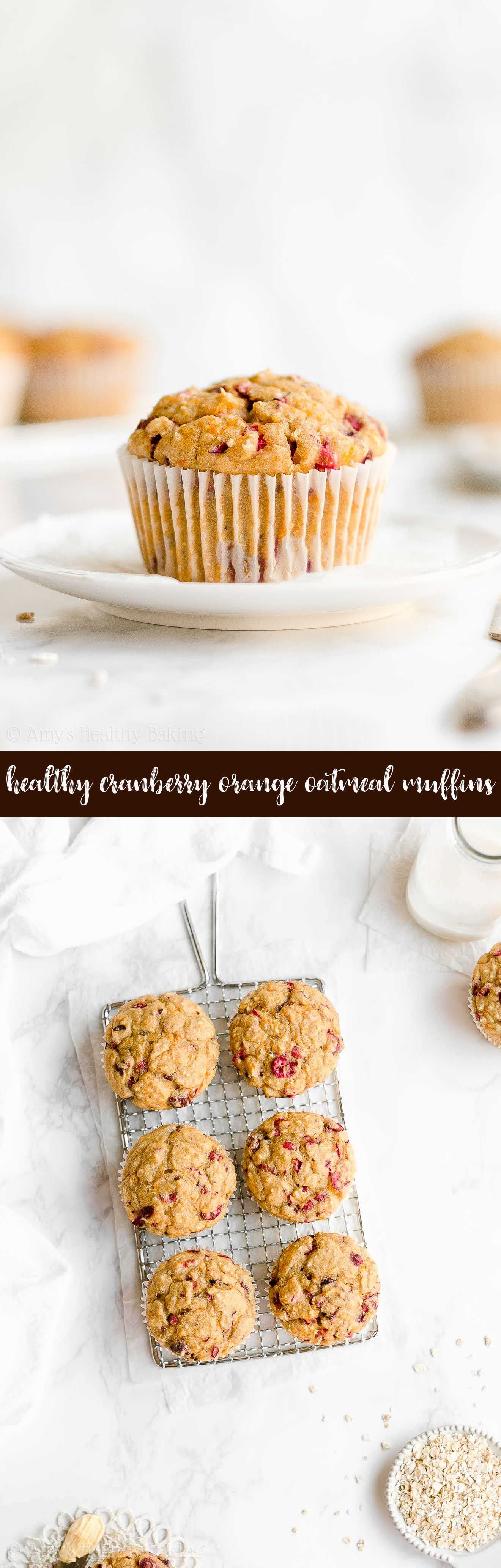 Best Ever Easy Healthy Moist Greek Yogurt Cranberry Orange Oatmeal Muffins