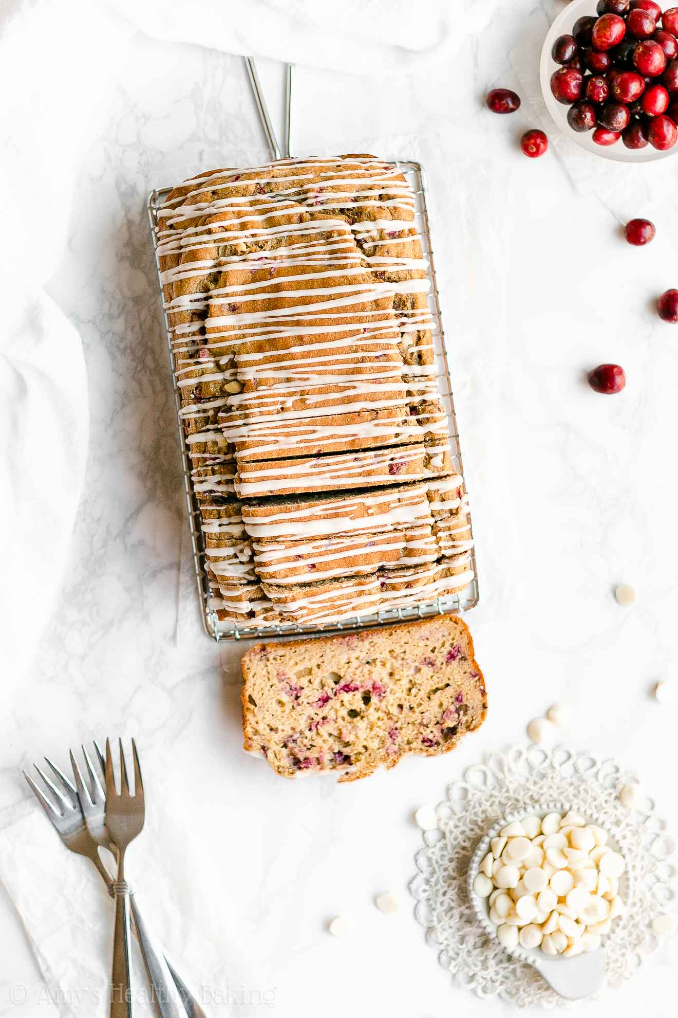 Healthy White Chocolate Cranberry Pound Cake with Weight Watchers Points
