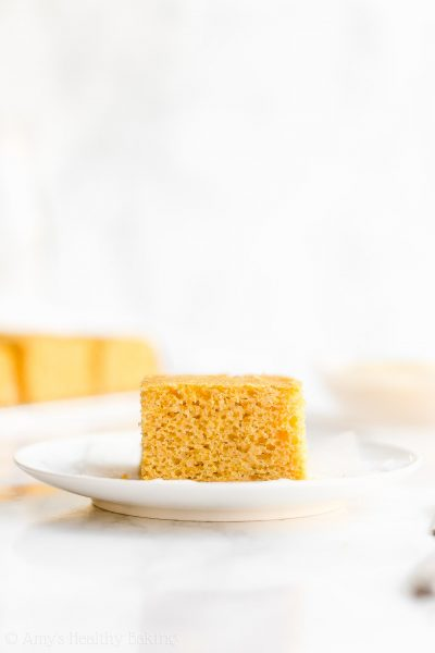 Healthy One-Bowl Cornbread - light, fluffy & only 67 calories! This recipe is SO easy to make too! Definitely a keeper. My family calls this the BEST cornbread ever! ♡ clean eating moist greek yogurt cornbread. simple no sugar gluten free cornbread. low calorie homemade honey cornbread from scratch.