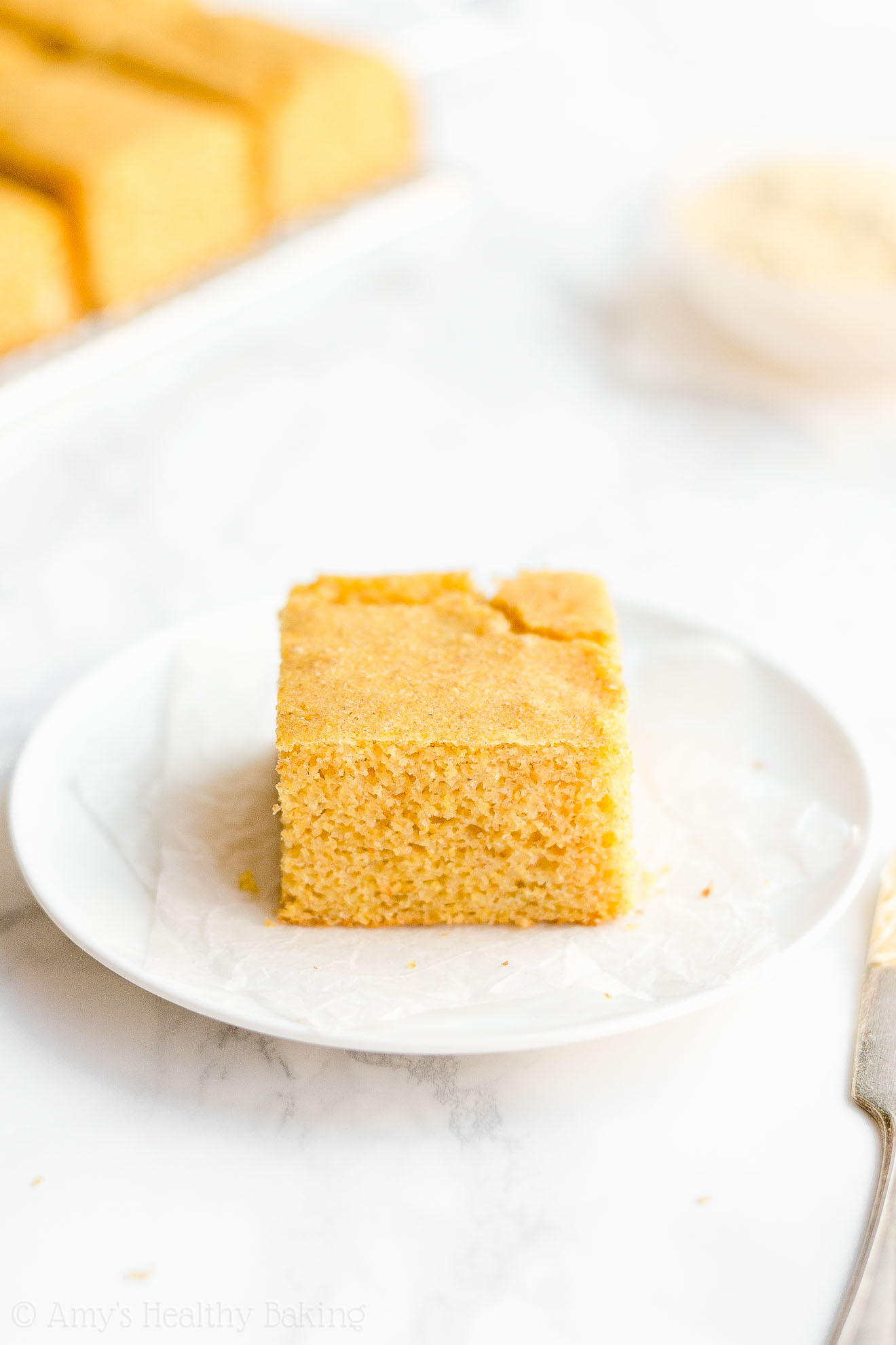 Easy Healthy Light Fluffy Moist Greek Yogurt Low Calorie One-Bowl Cornbread