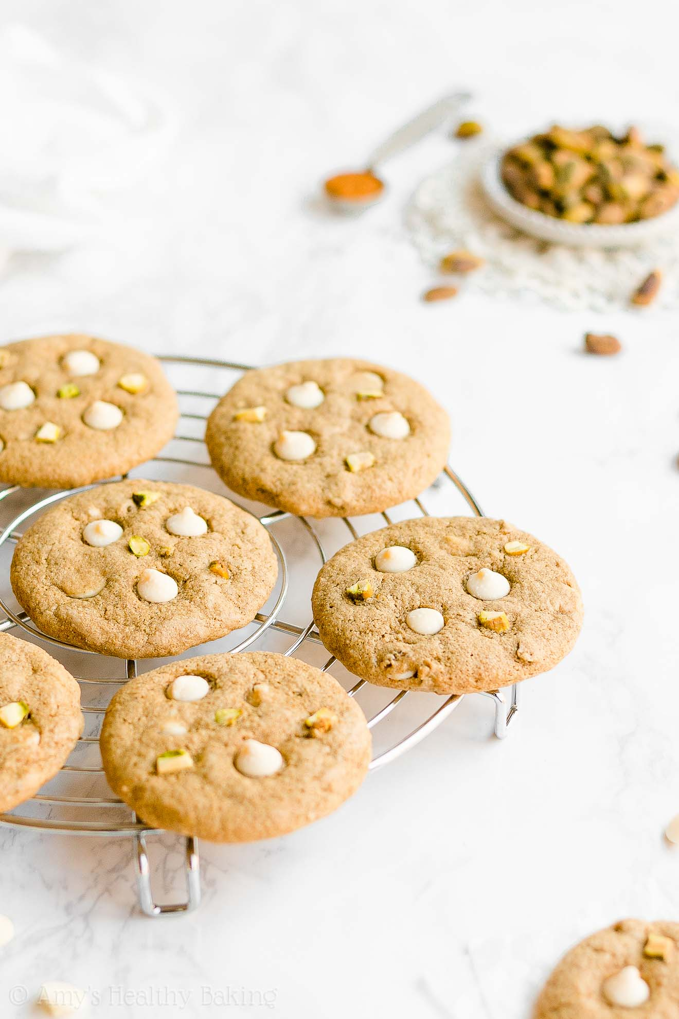 Easy Healthy White Chocolate Pistachio Cookies with Weight Watchers Points