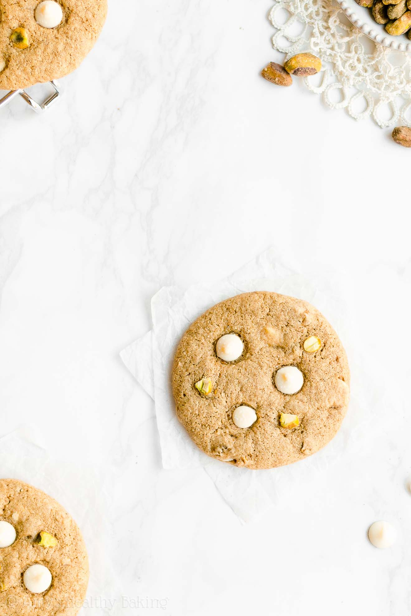 Easy Healthy Chewy Christmas & Holidays White Chocolate Pistachio Cookies