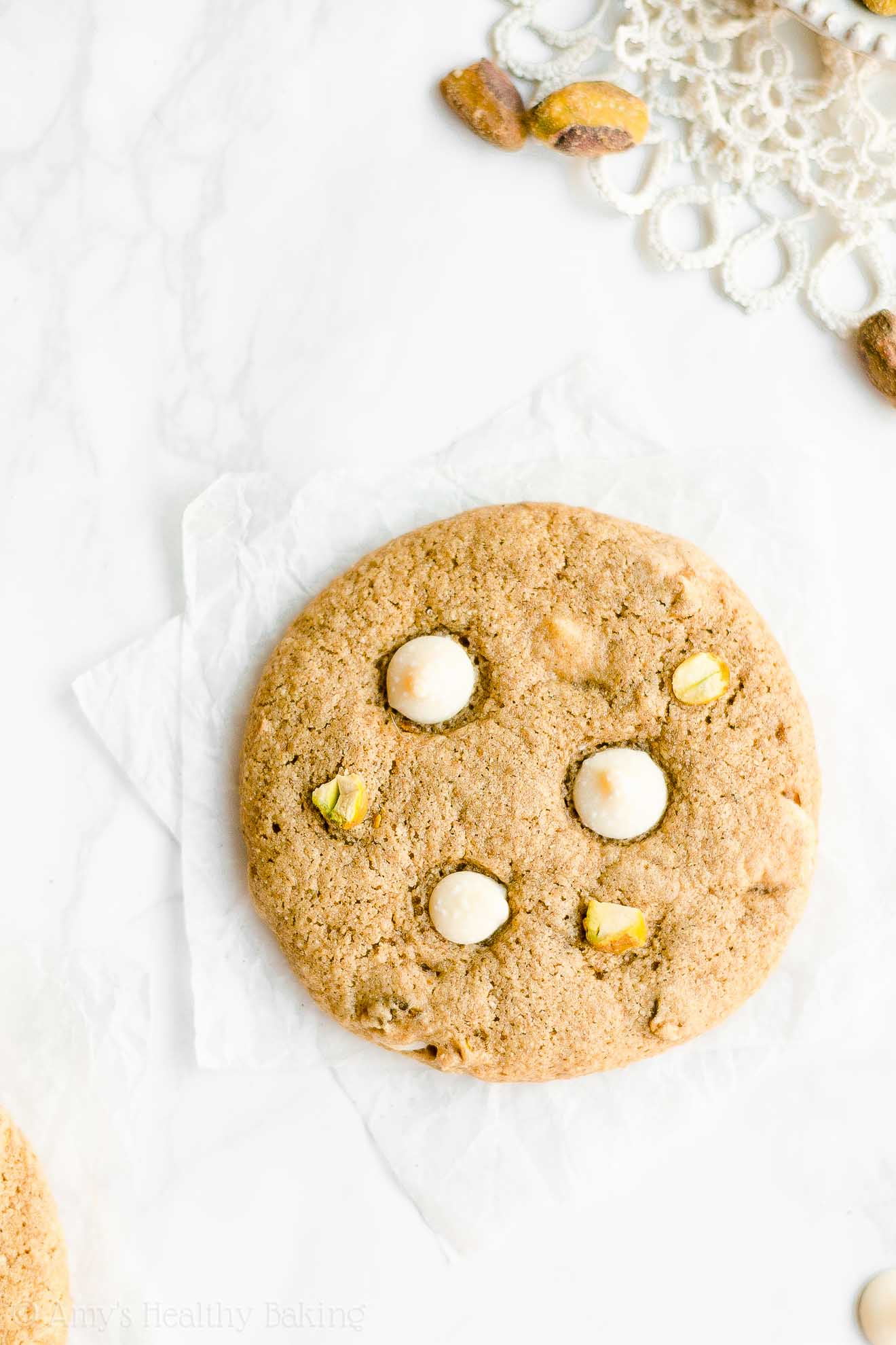Easy Healthy Gluten Free Vegan Eggless White Chocolate Pistachio Cookies