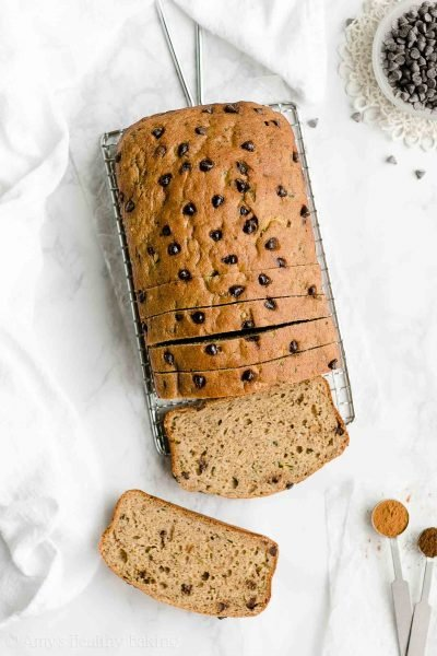 Healthy Chocolate Chip Zucchini Banana Bread