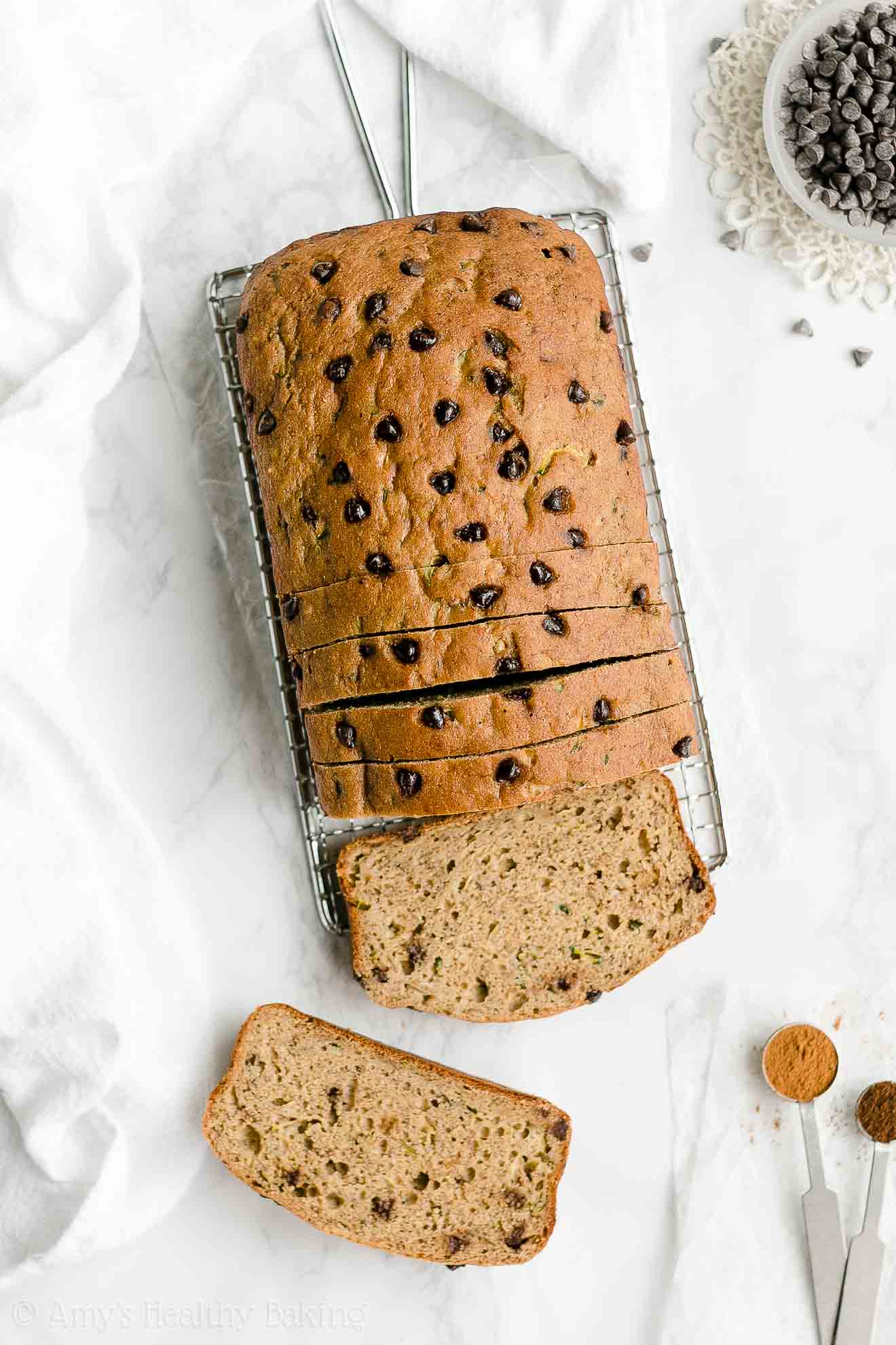 Easy Healthy Low Calorie Moist Chocolate Chip Zucchini Banana Bread