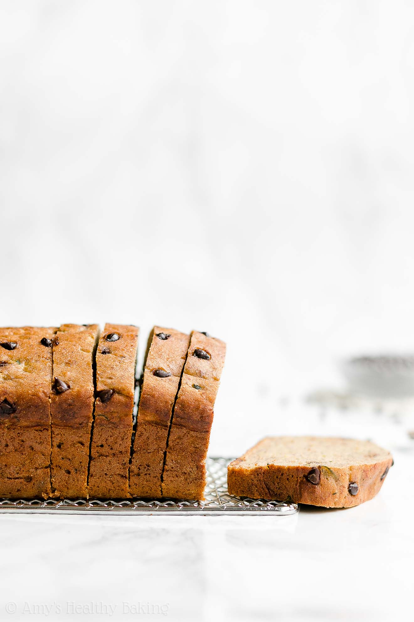 Healthy Chocolate Chip Zucchini Banana Bread with Weight Watchers Points