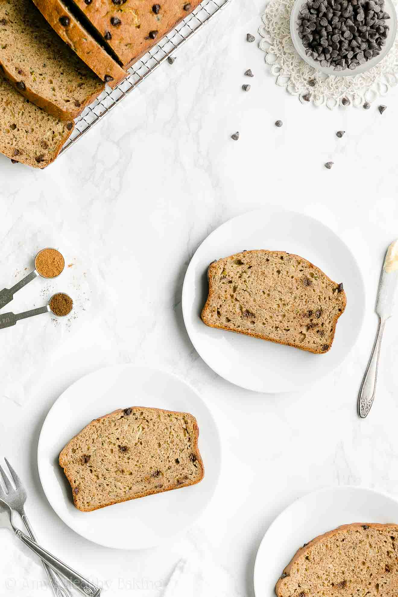 Simple Healthy Gluten Free Chocolate Chip Zucchini Banana Bread