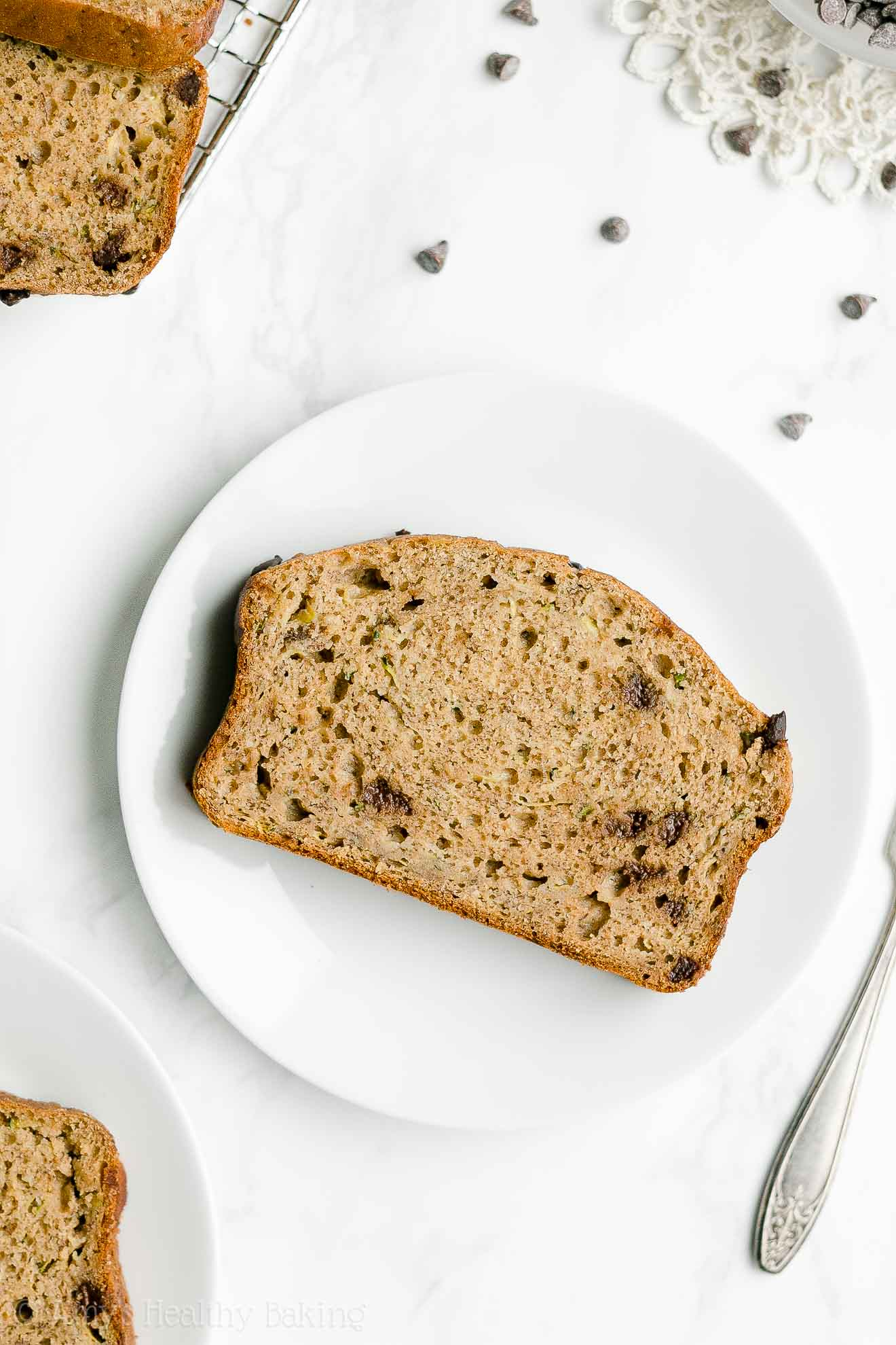 Easy Healthy Whole Wheat No Sugar Chocolate Chip Zucchini Banana Bread