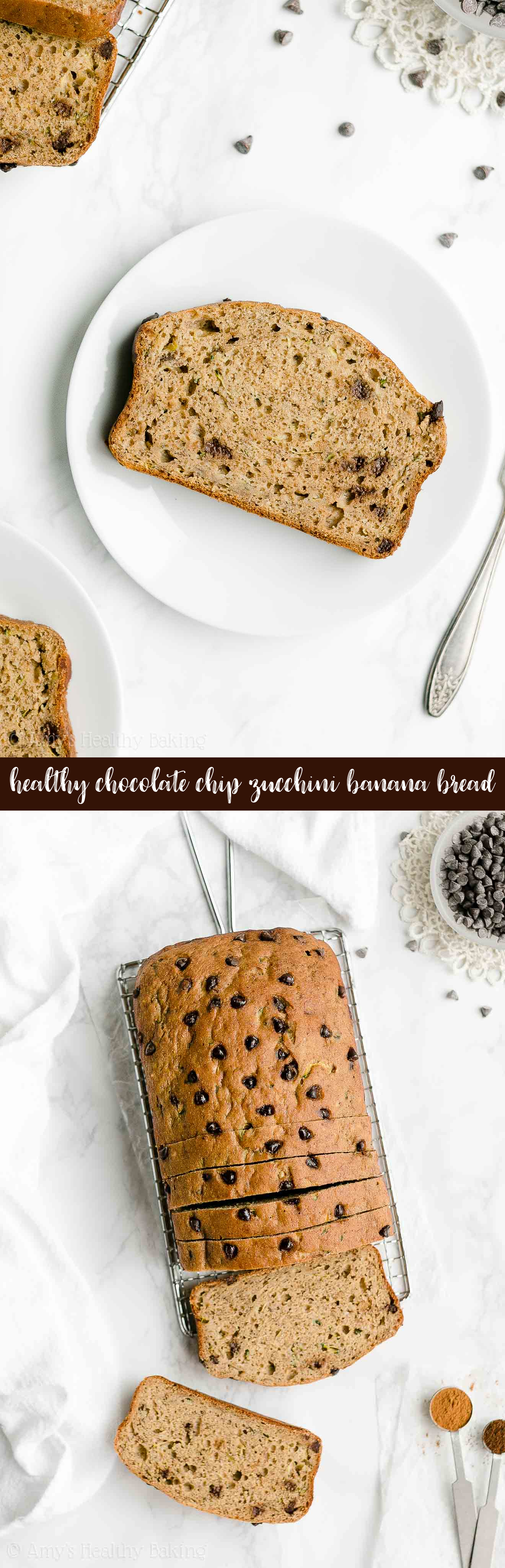 Best Ever Easy Healthy No Sugar Chocolate Chip Zucchini Banana Bread