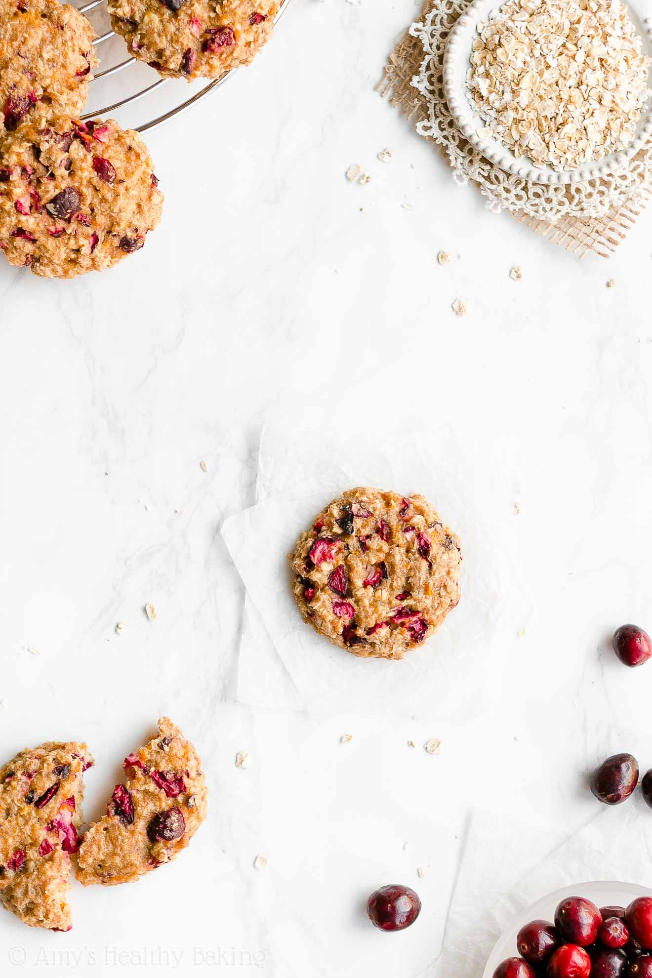 Easy Healthy Clean Eating Low Fat Cranberry Orange Oatmeal Cookies