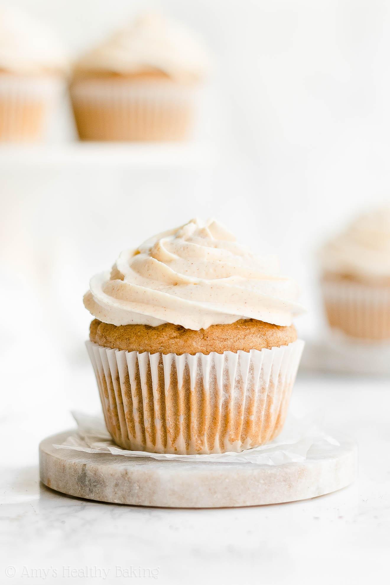 Easy Healthy Whole Wheat Eggnog Cupcakes with Greek Yogurt Frosting
