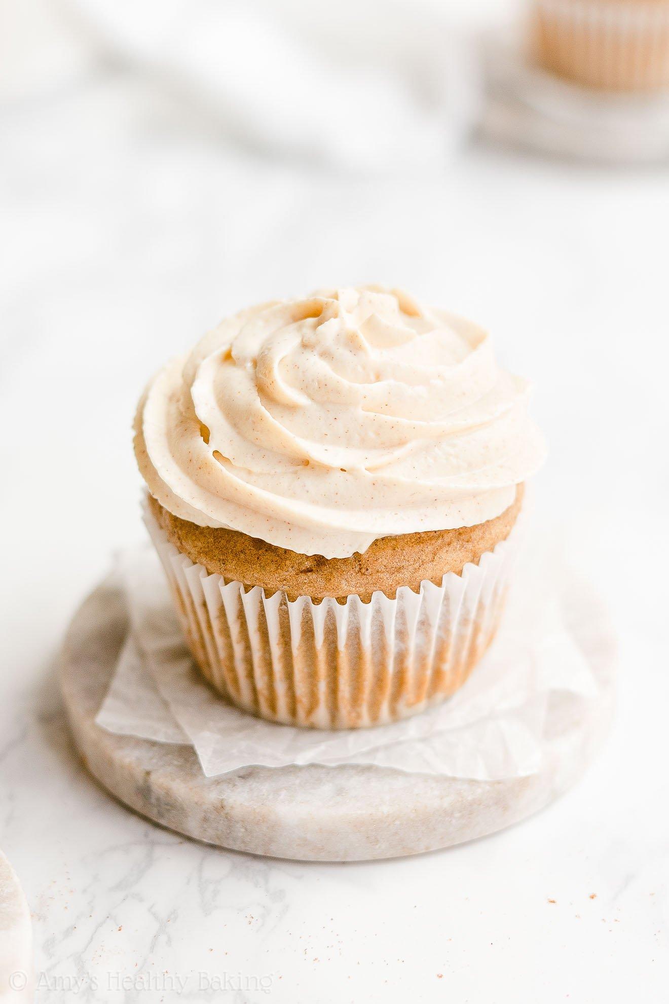 Healthy Gluten Free Eggnog Cupcakes with Greek Yogurt Frosting