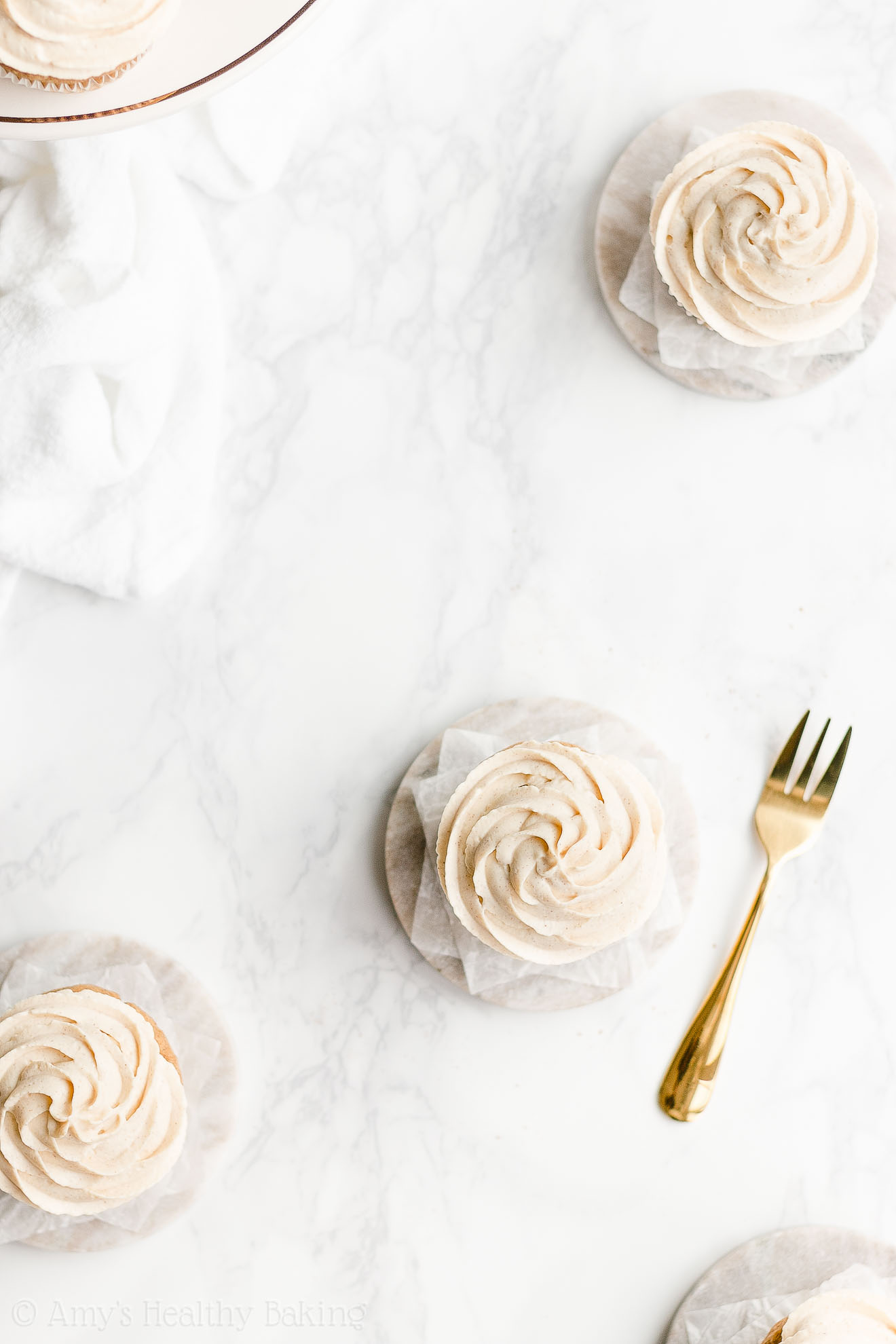 Healthy Eggnog Cupcakes with High Protein Cinnamon Greek Yogurt Frosting