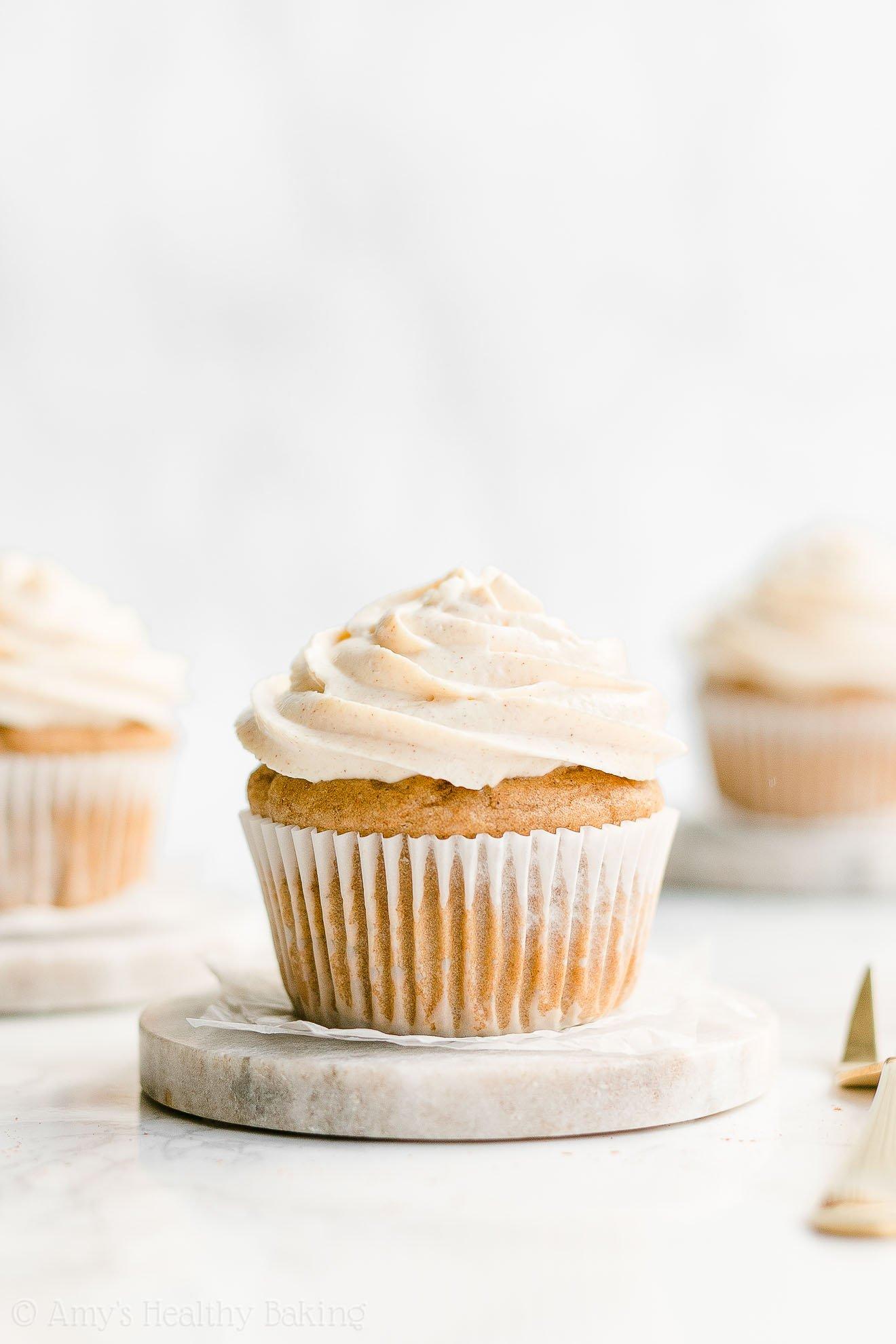Healthy Gluten Free Sugar Free Moist Holiday Eggnog Cupcakes