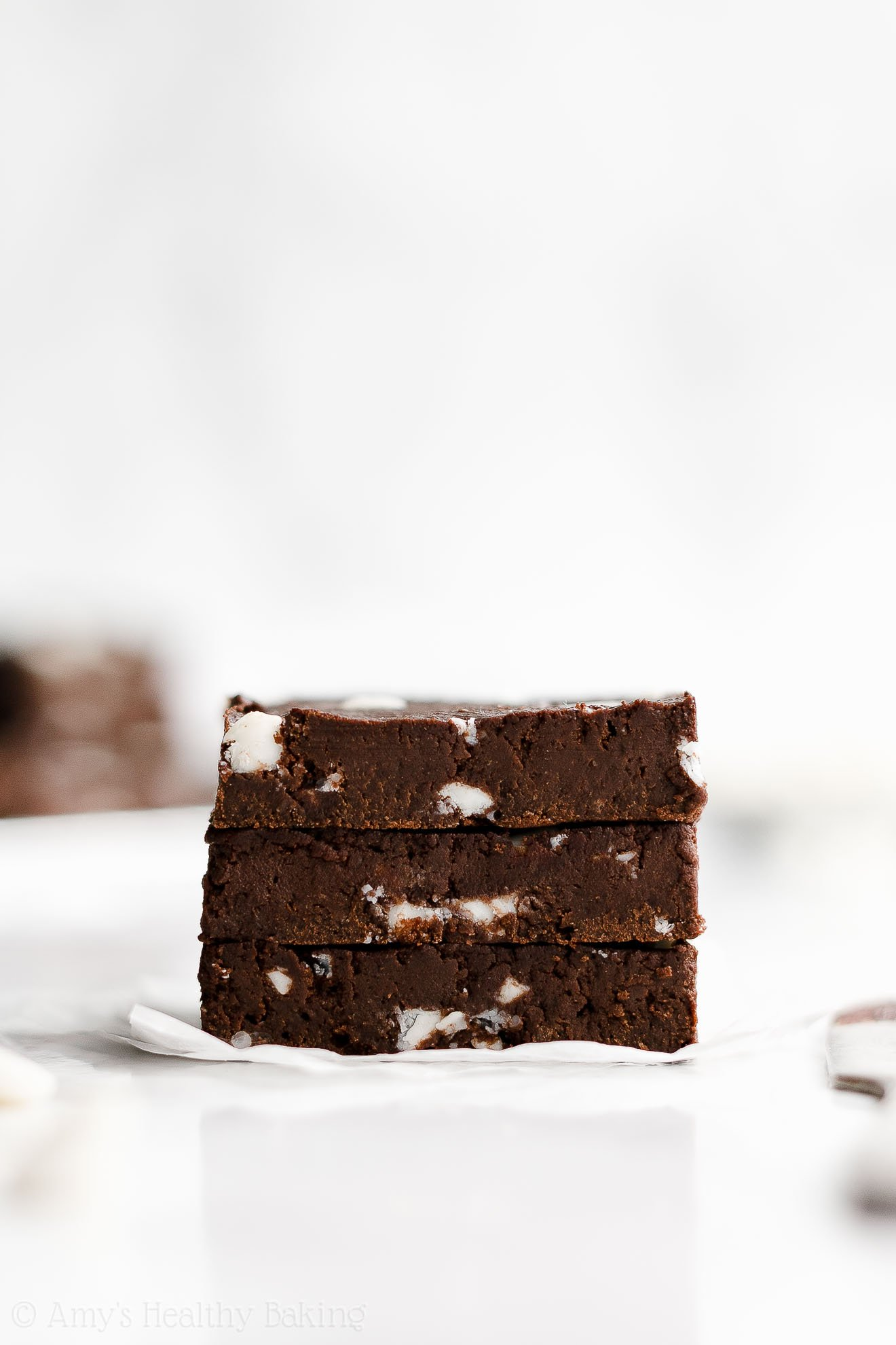 Easy Healthy Low Calorie Chewy Fudgy White Chocolate Chip Brownies