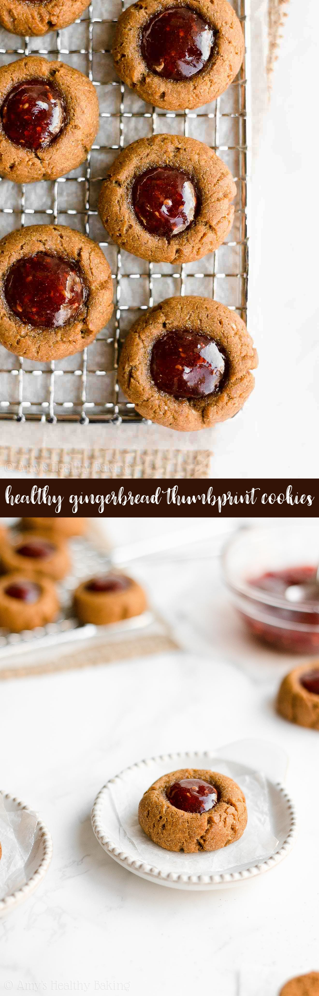 Best Easy Healthy Soft Chewy Christmas Gingerbread Jam Thumbprint Cookies
