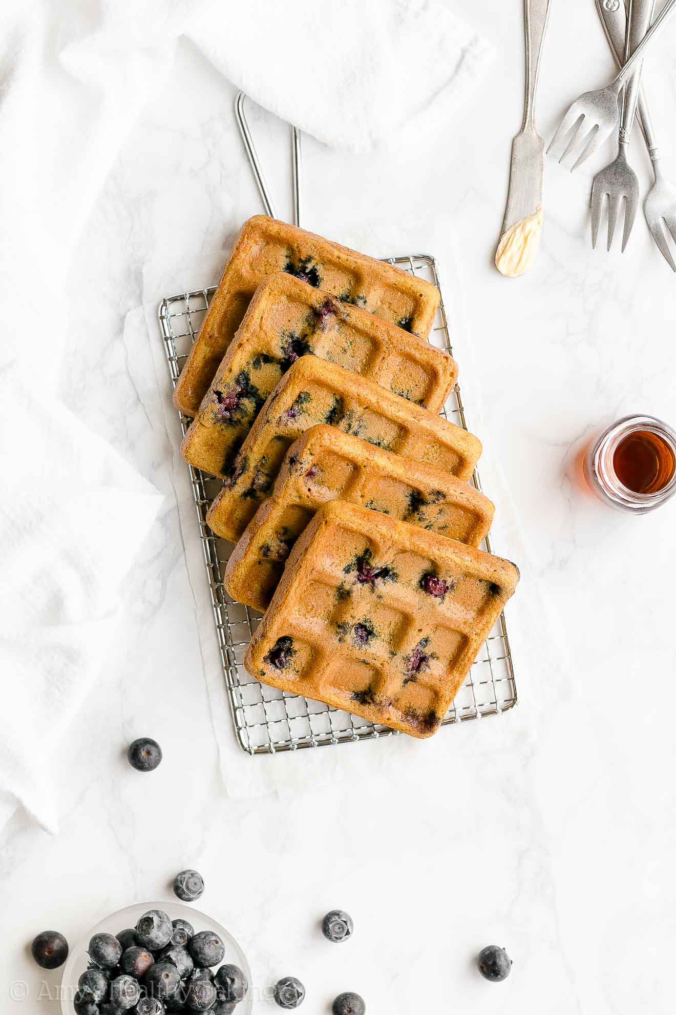 Easy Healthy Homemade Whole Wheat Low Sugar Blueberry Waffles