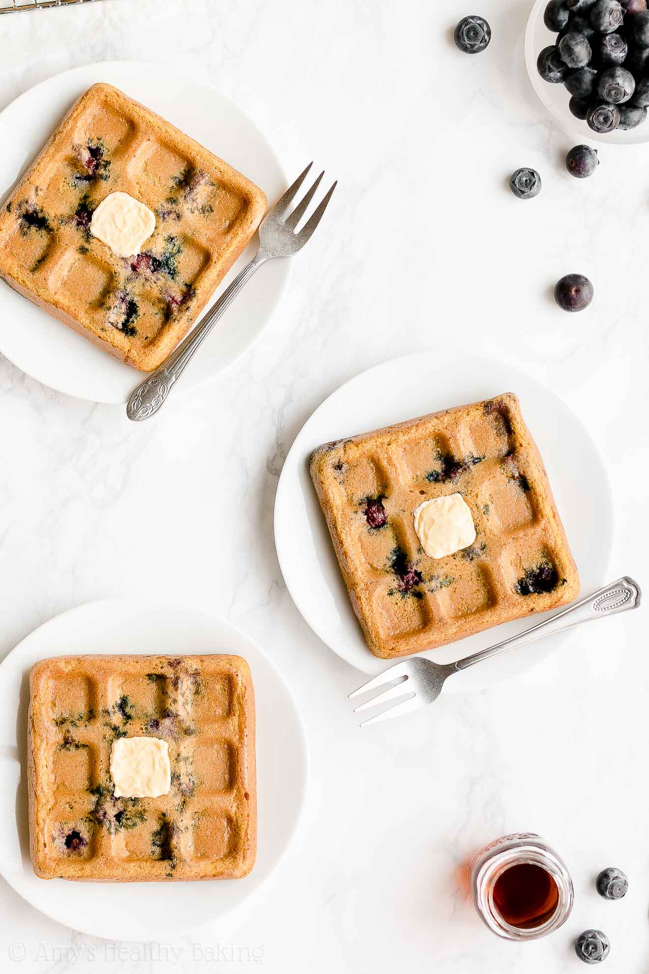 Easy Healthy Low Fat Low Calorie Fluffy Crispy Homemade Blueberry Waffles