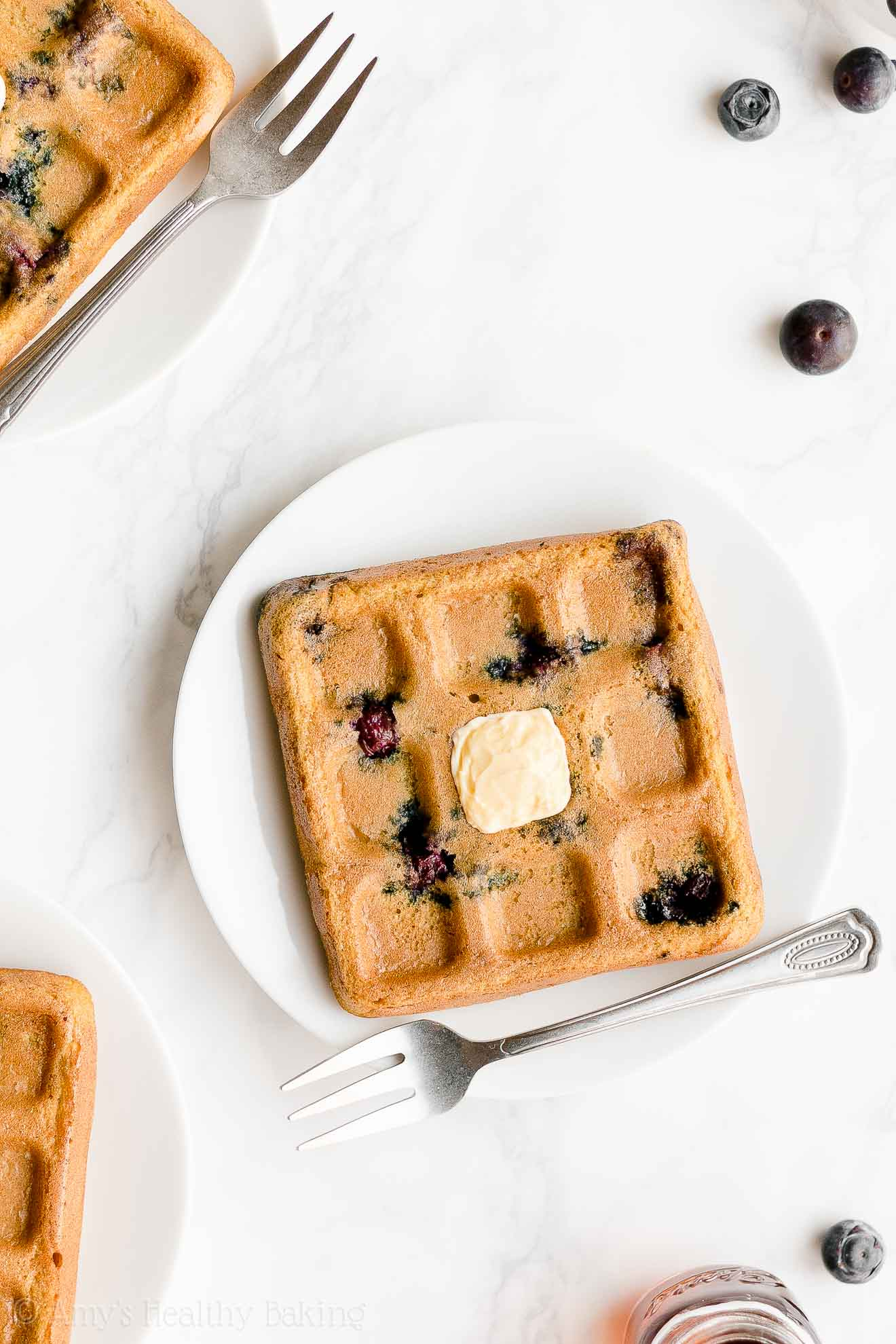 Easy Healthy Gluten Free Low Calorie Fluffy Crispy Blueberry Waffles