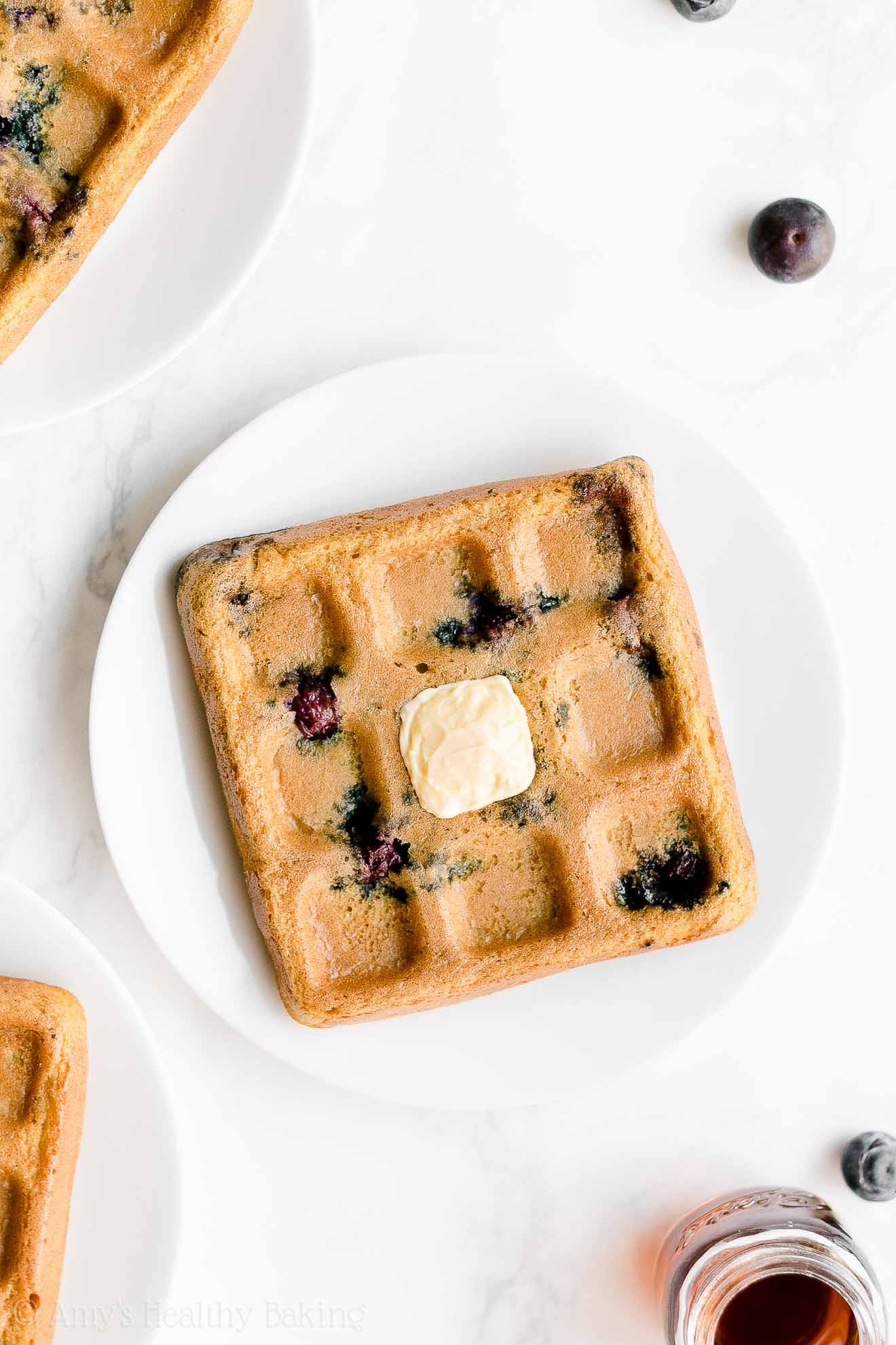 Easy Healthy Weight Watchers Fluffy Crispy Blueberry Waffles
