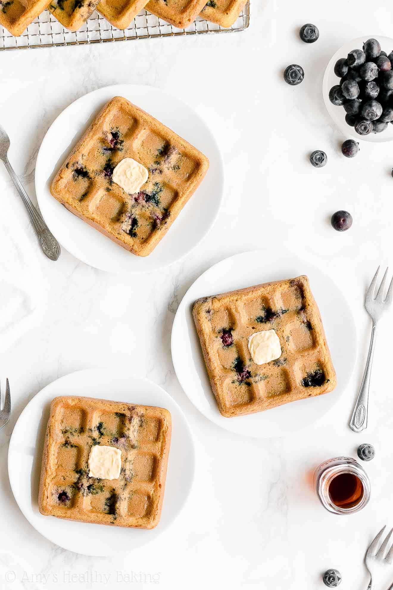 Easy Healthy Homemade Crispy Fluffy Gluten Free Blueberry Waffles