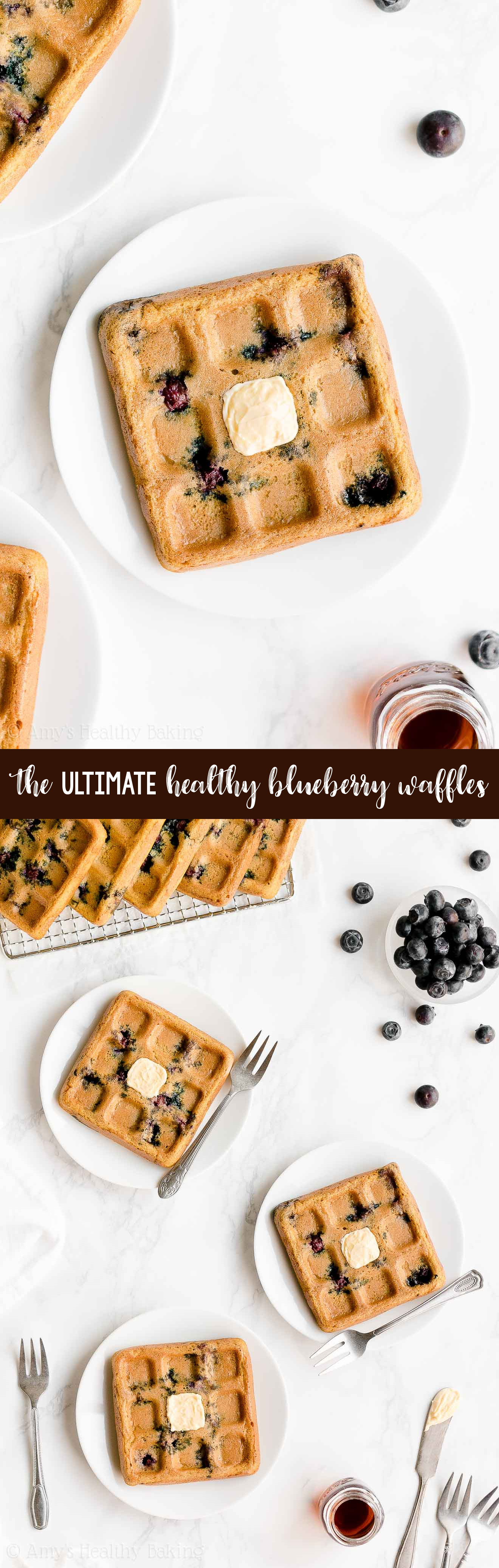 Best Ever Easy Healthy Clean Eating Fluffy & Crispy Homemade Blueberry Waffles