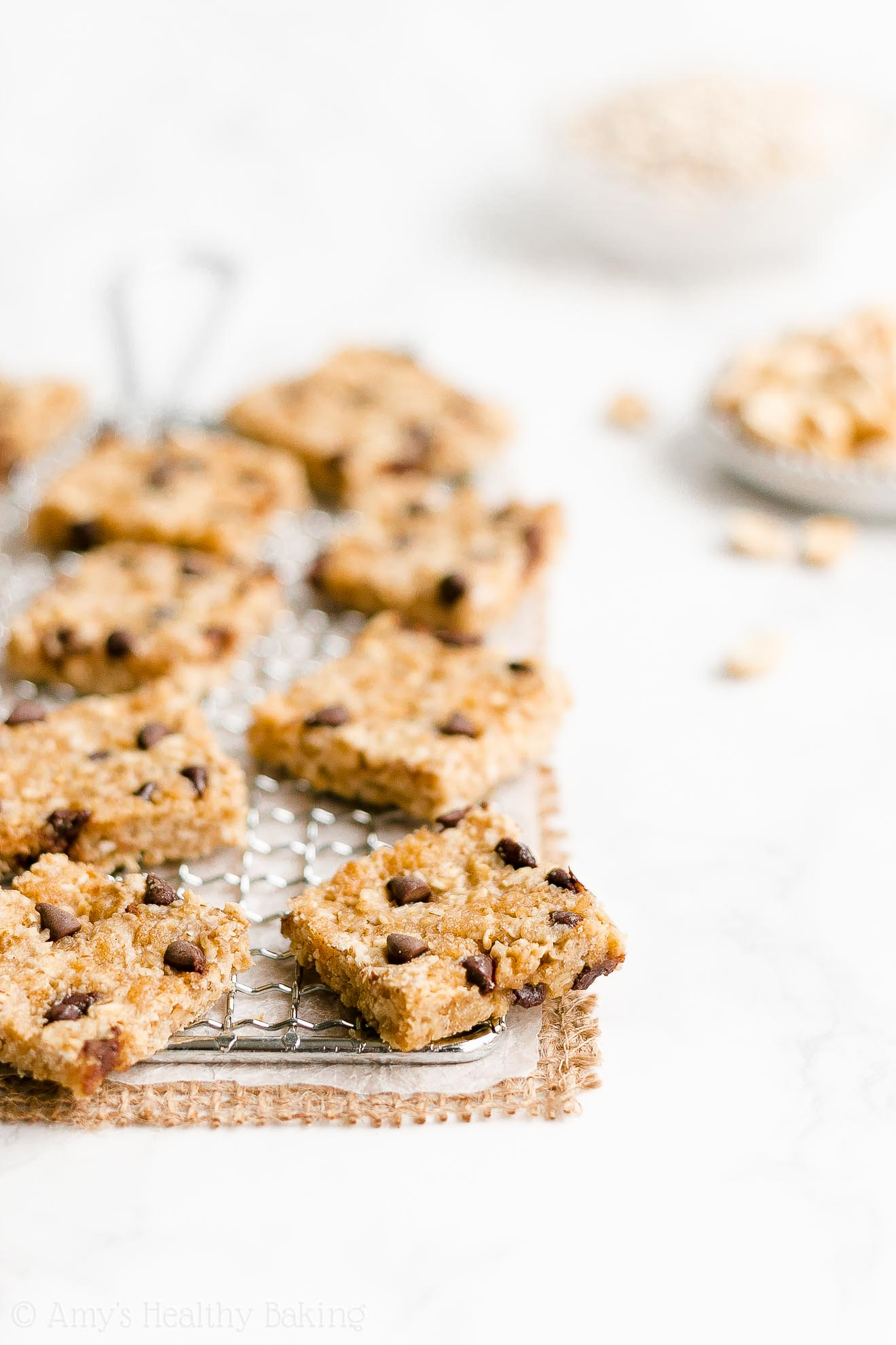 Easy Healthy Clean Eating Gluten Free Chocolate Chip Peanut Butter Granola Bars